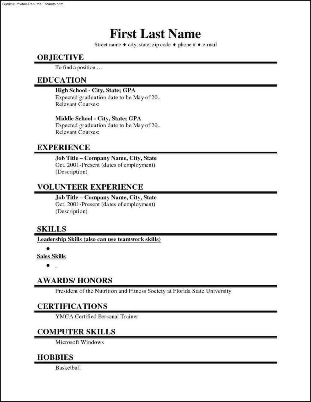 001 College Student Resume Template Microsoft Word Free Regarding College Student Resume Template Microsoft Word