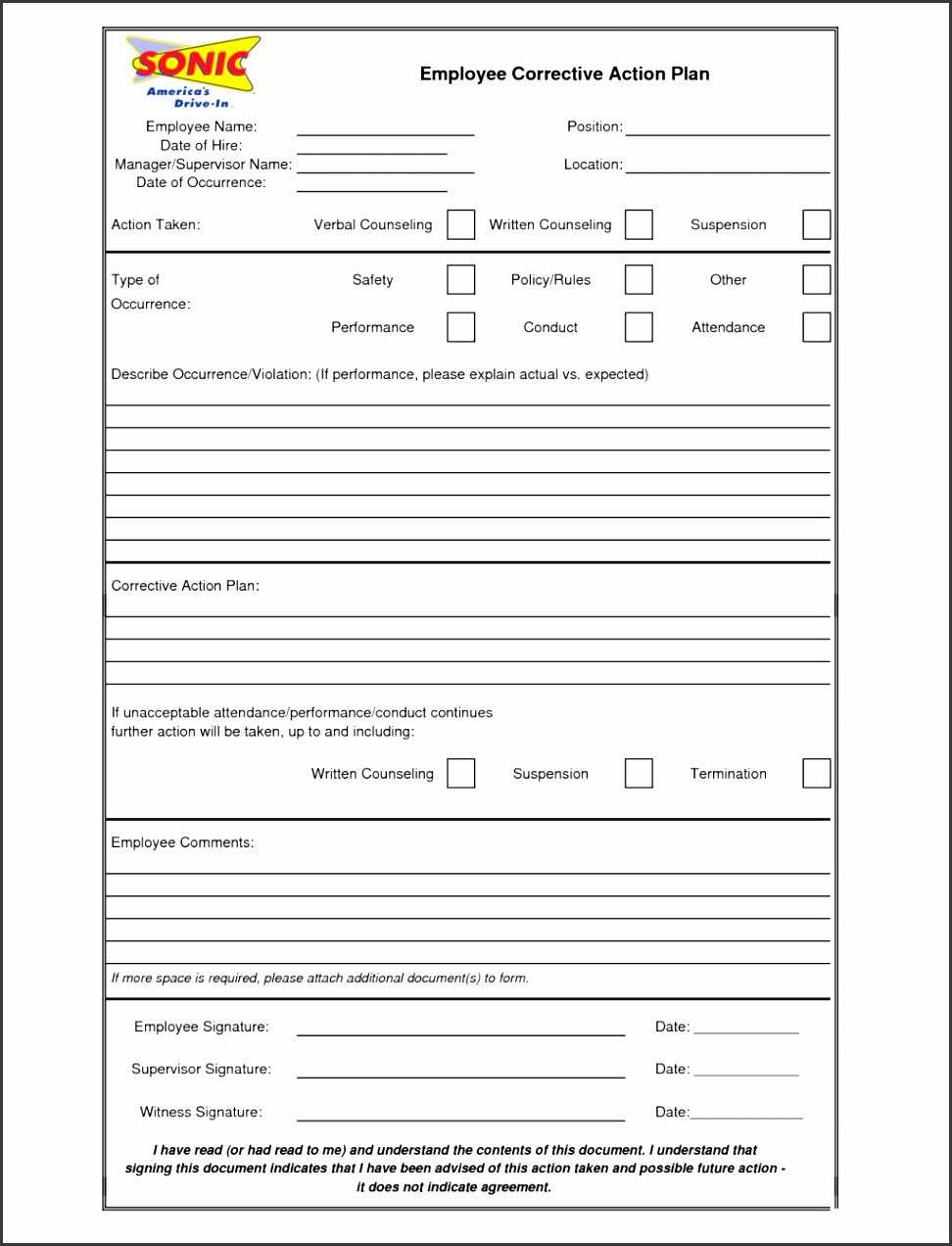 001 Employee Corrective Action Plan Form Template Inside Employee Corrective Action Plan Template