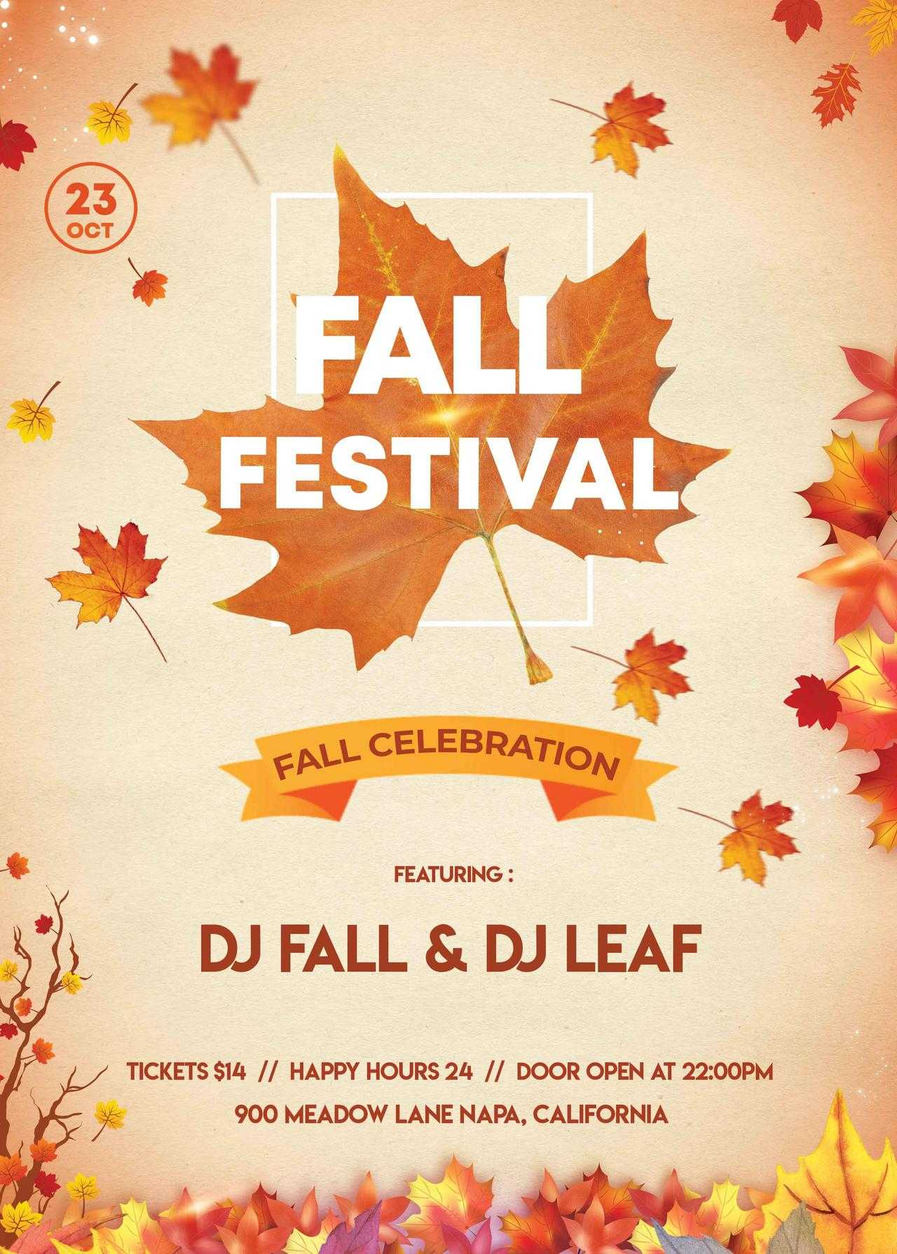 002 Fall Festival Flyer Template Free Psdstudioflyers Pertaining To Fall Festival Flyer Templates Free