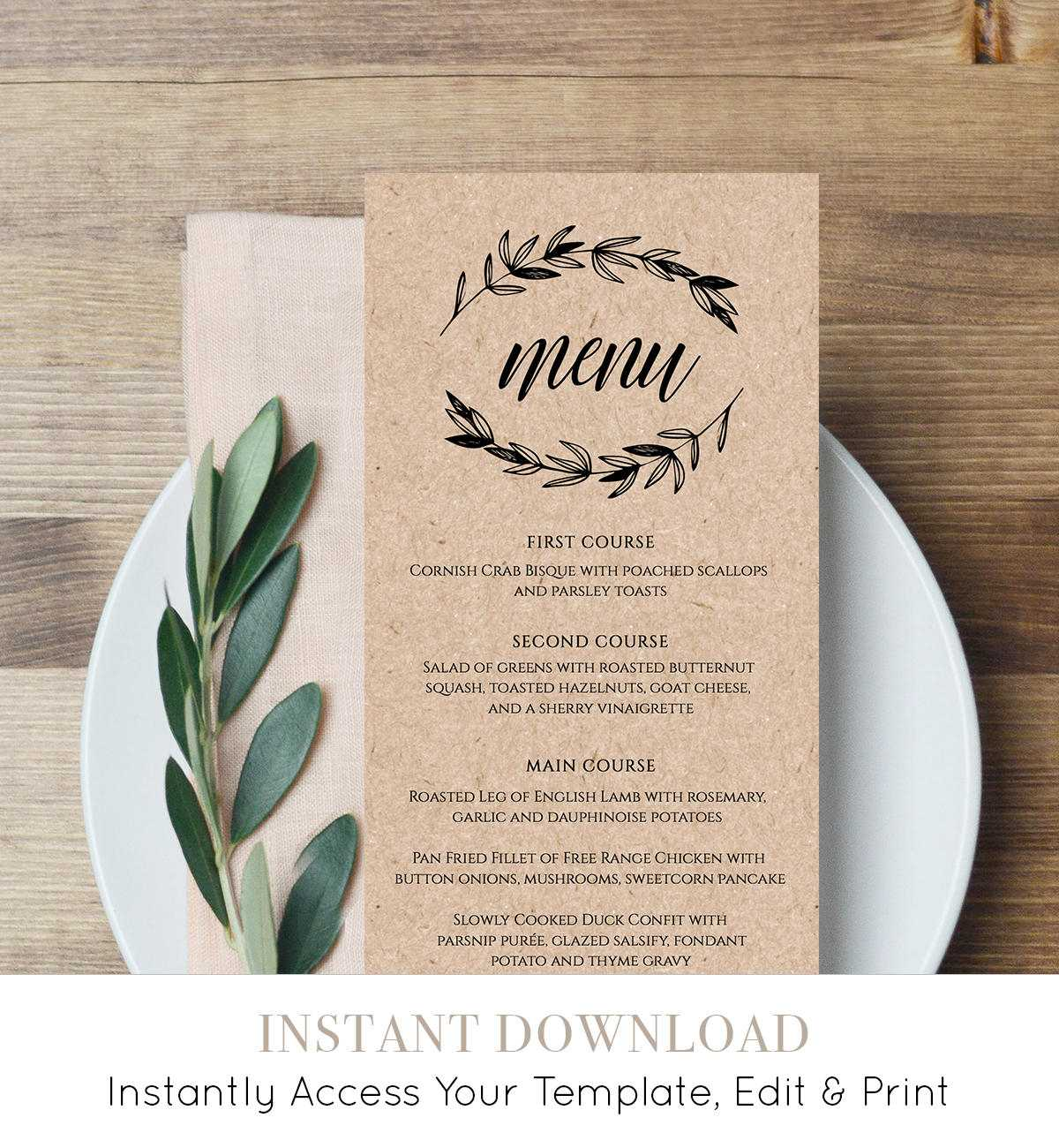 003 Free Wedding Menus Templates Download Il Fullxfull Pertaining To Free Wedding Menu Template For Word