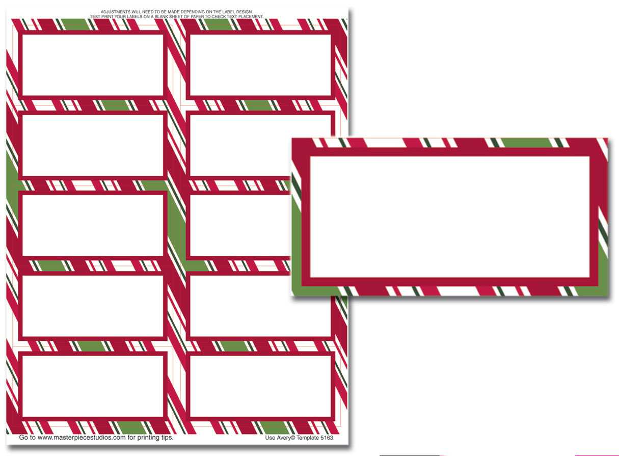 003 Holiday Stripes Mailing Label Christmas Address Labels Within Christmas Address Labels Template