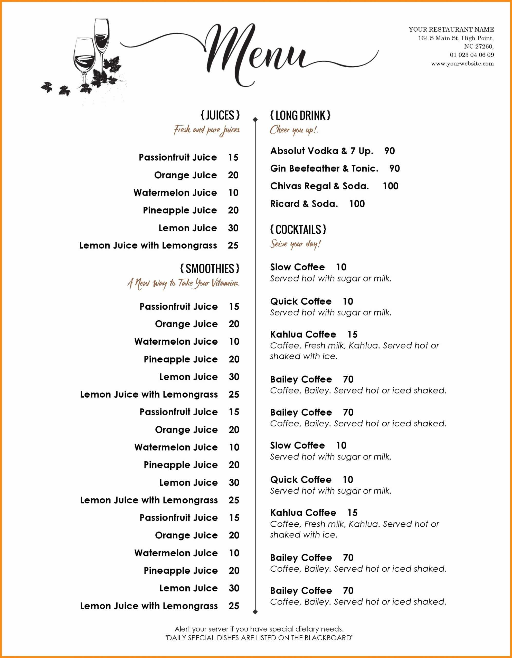 003 Microsoft Word Menu Template Ideas Free Menus Templates Intended For Free Cafe Menu Templates For Word