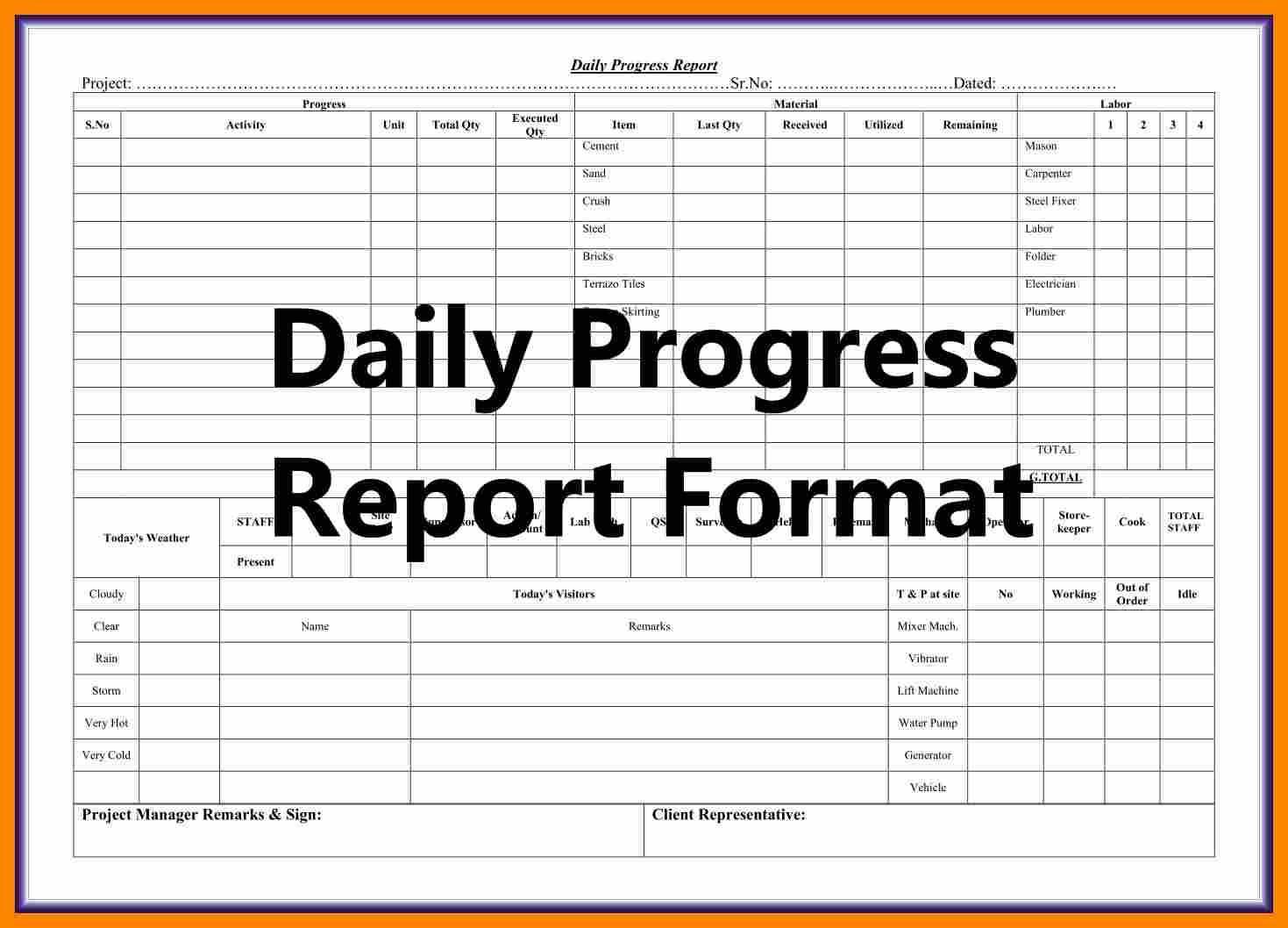 004 Template Ideas Construction Daily Progress Report Inside Construction Daily Progress Report Template