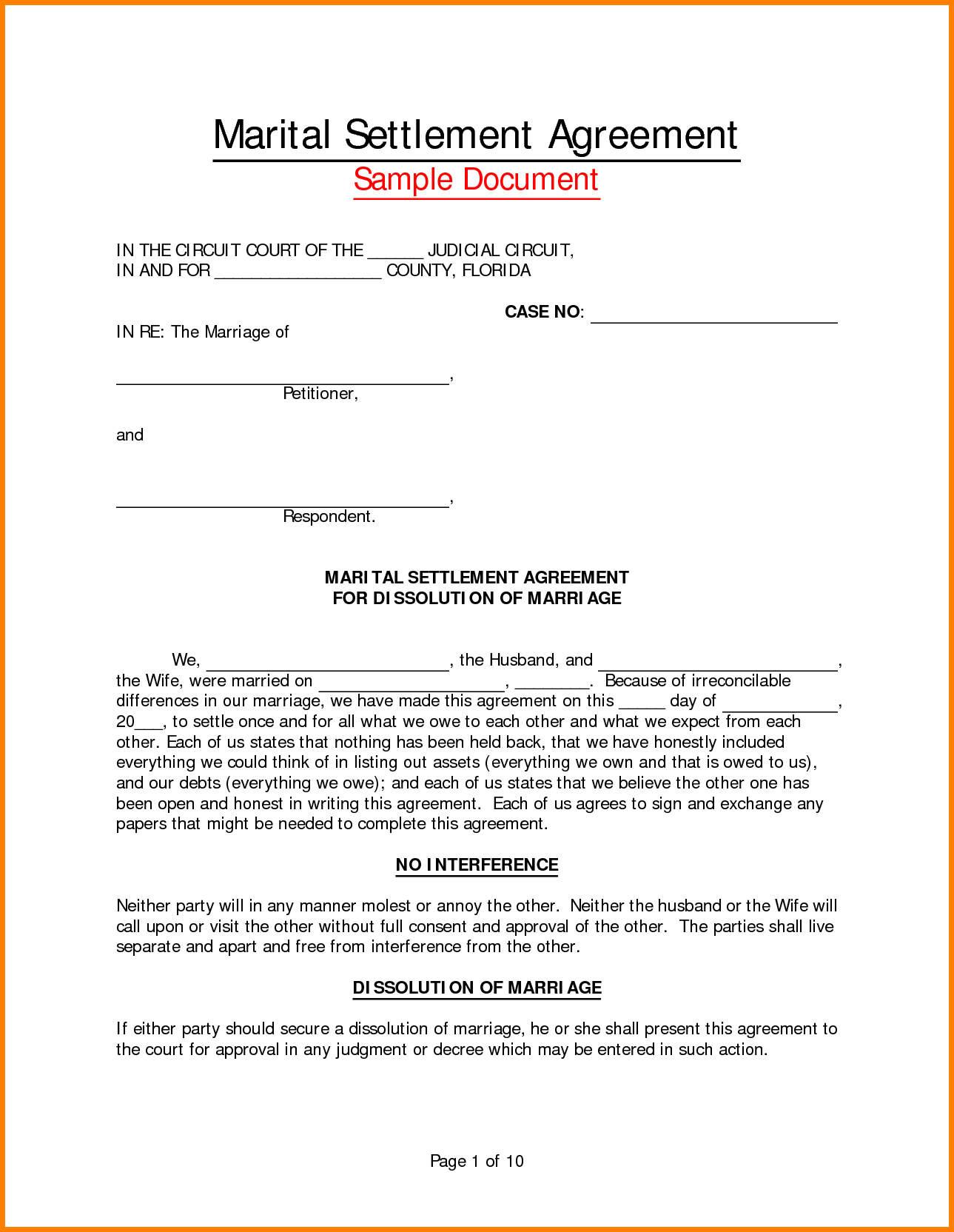 005 Divorce Settlement Agreement Template Form Marital With Divorce Settlement Agreement Template