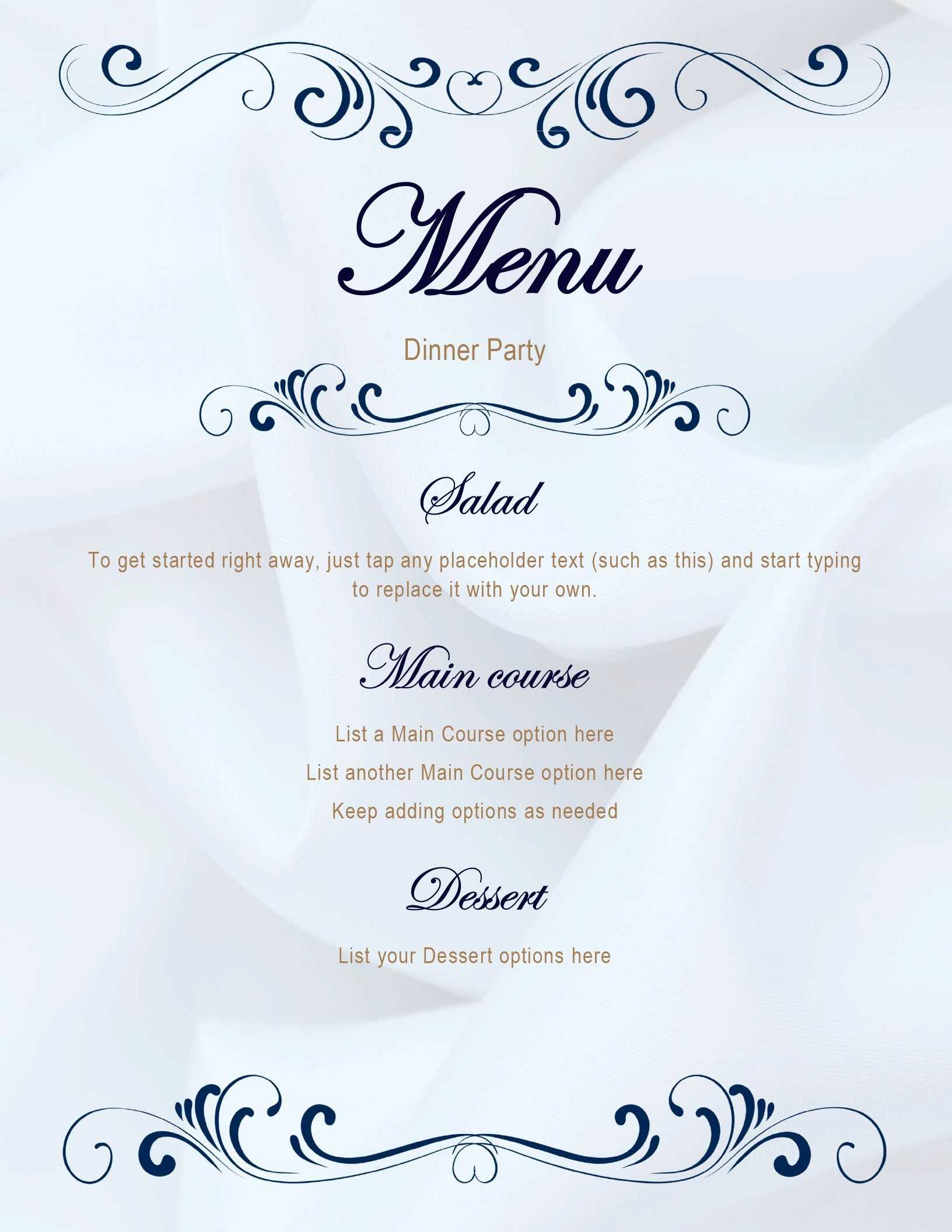 005 Menus Office Free Printable Dinner Party Menu Template Pertaining To Free Printable Menu Template