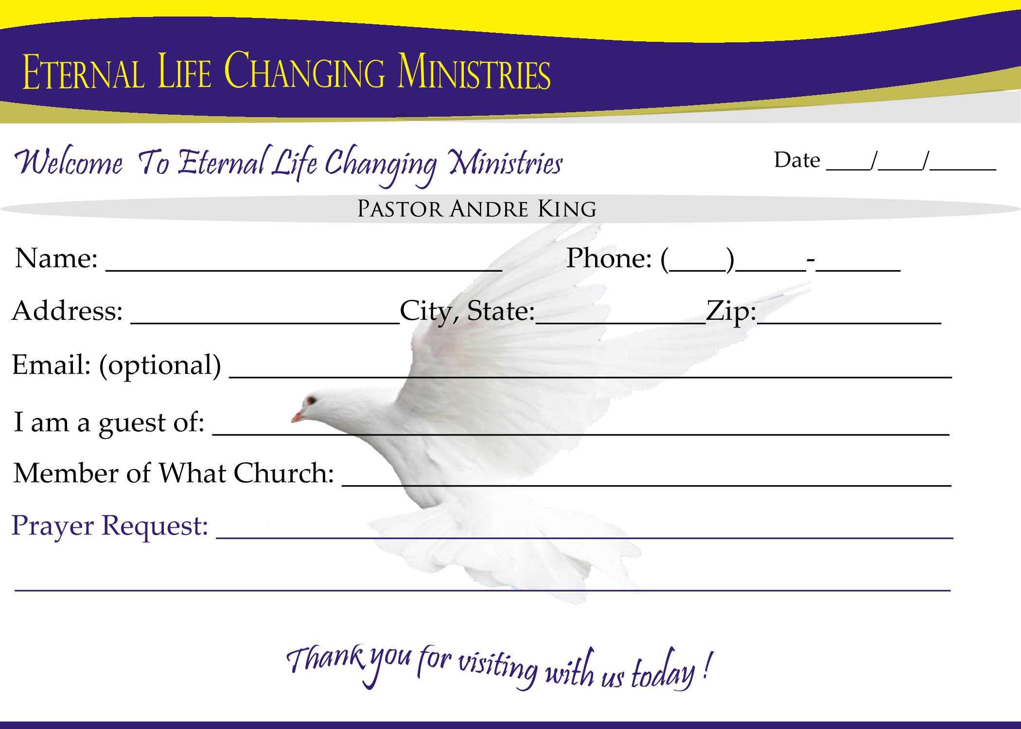 007 Template Ideas Eternal Life Visitor Card Church Intended For Church Visitor Card Template Word