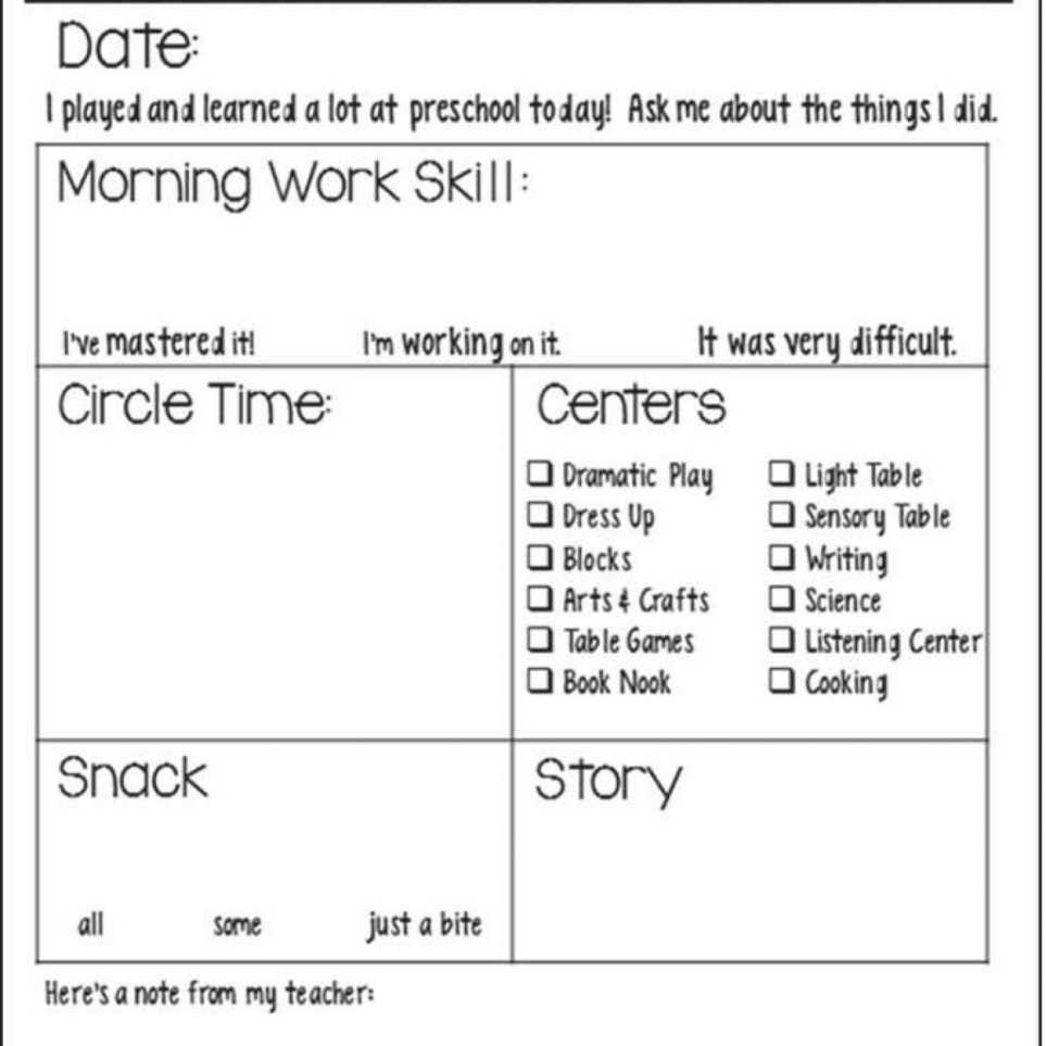 008 Preschool Daily Report Template Free Printable Infant In Daycare Infant Daily Report Template