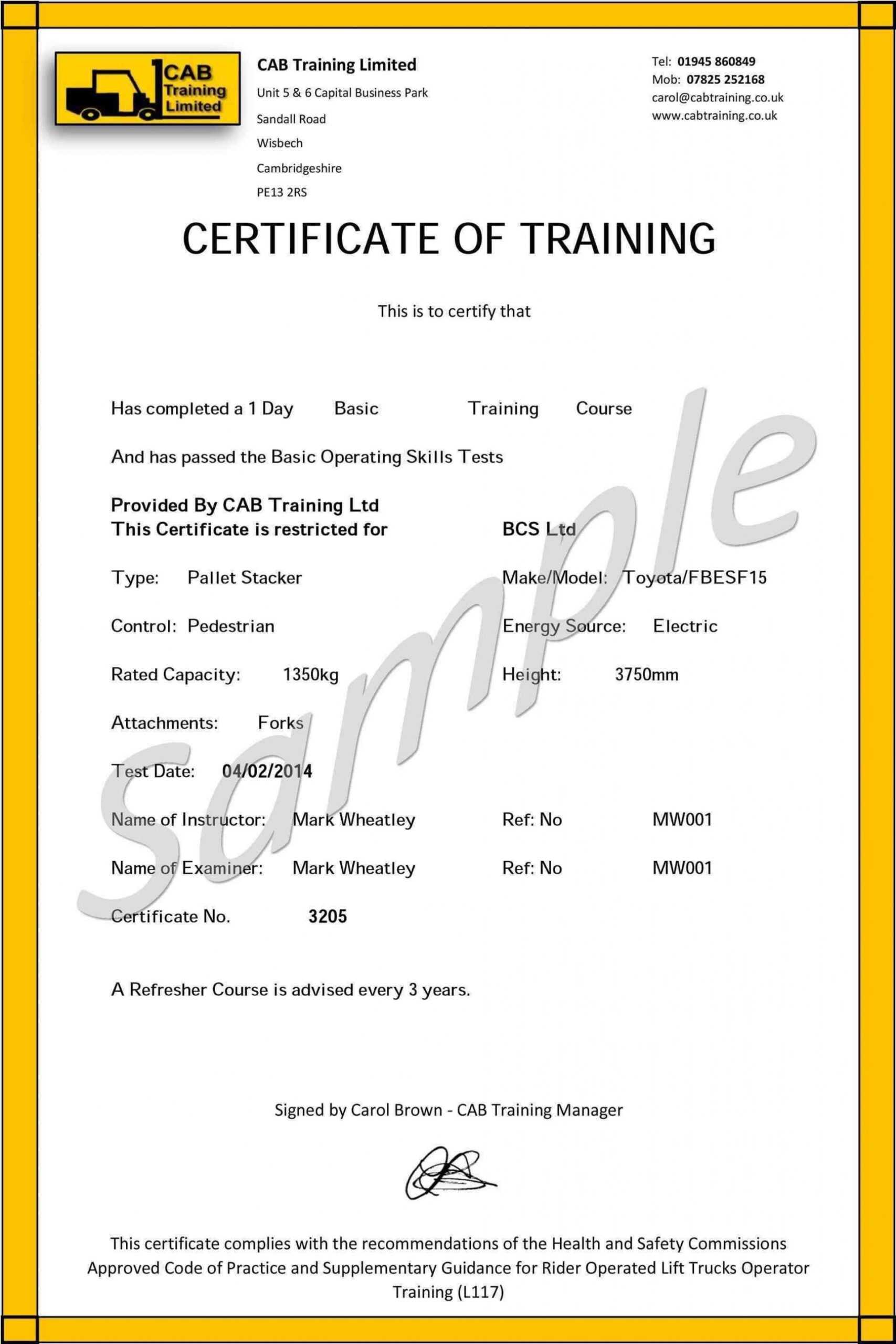 009 Forklift Certification Card Template Free Original Pertaining To Forklift Certification Card Template