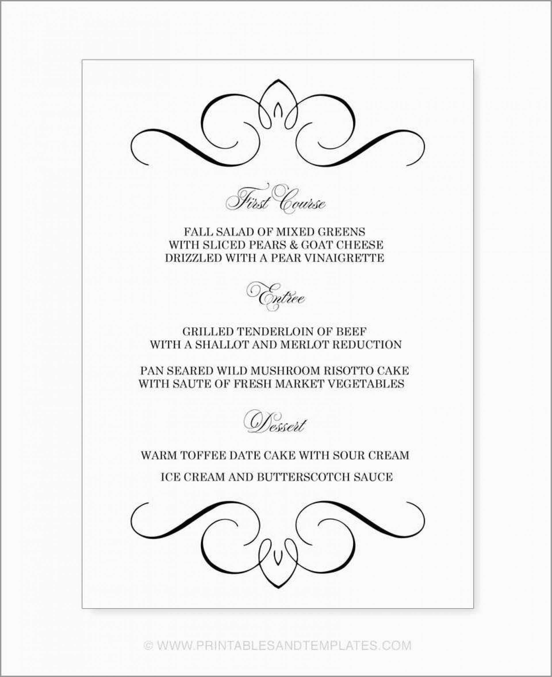 011 Template Ideas Microsoft Word Wedding Menu Free With Regard To Free Wedding Menu Template For Word