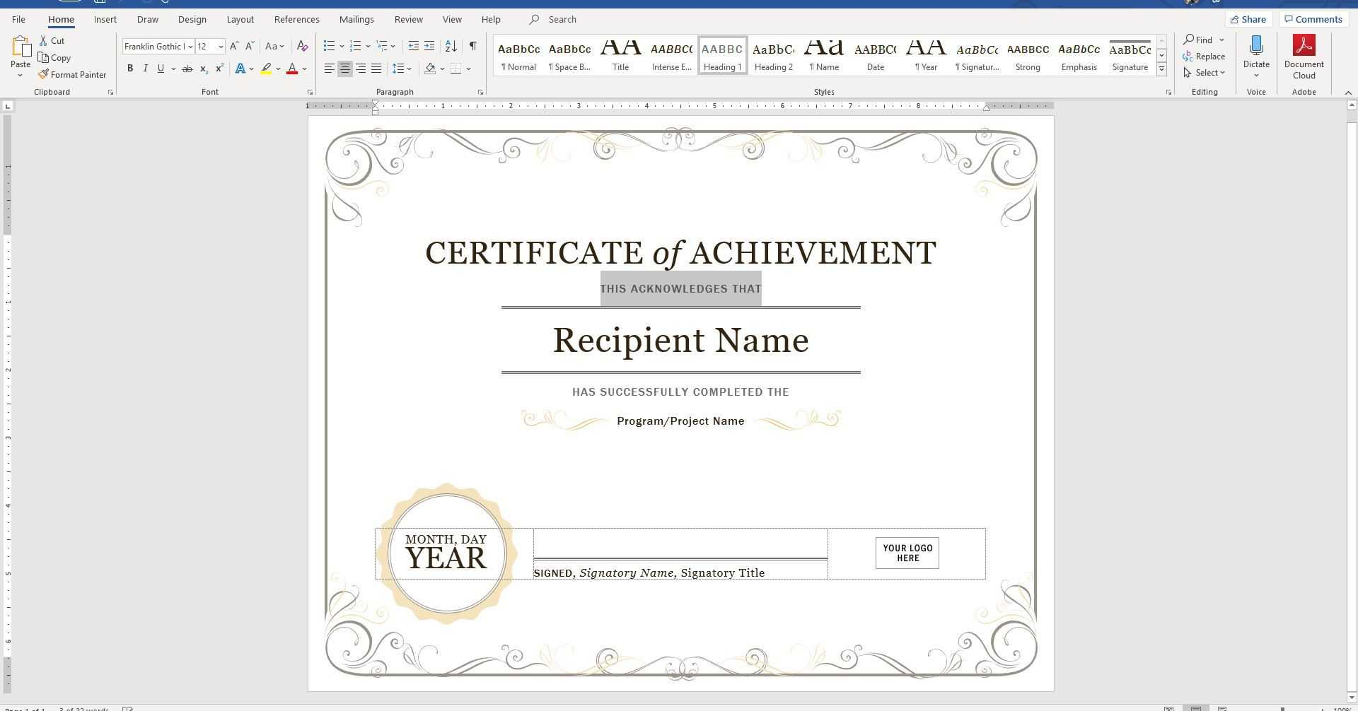 015 Template Ideas Create Certificate Of Recognition In With Free Certificate Templates For Word 2007