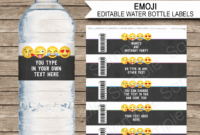 019 Free Water Bottle Label Template Awesome Emoji Theme throughout Drink Bottle Label Template