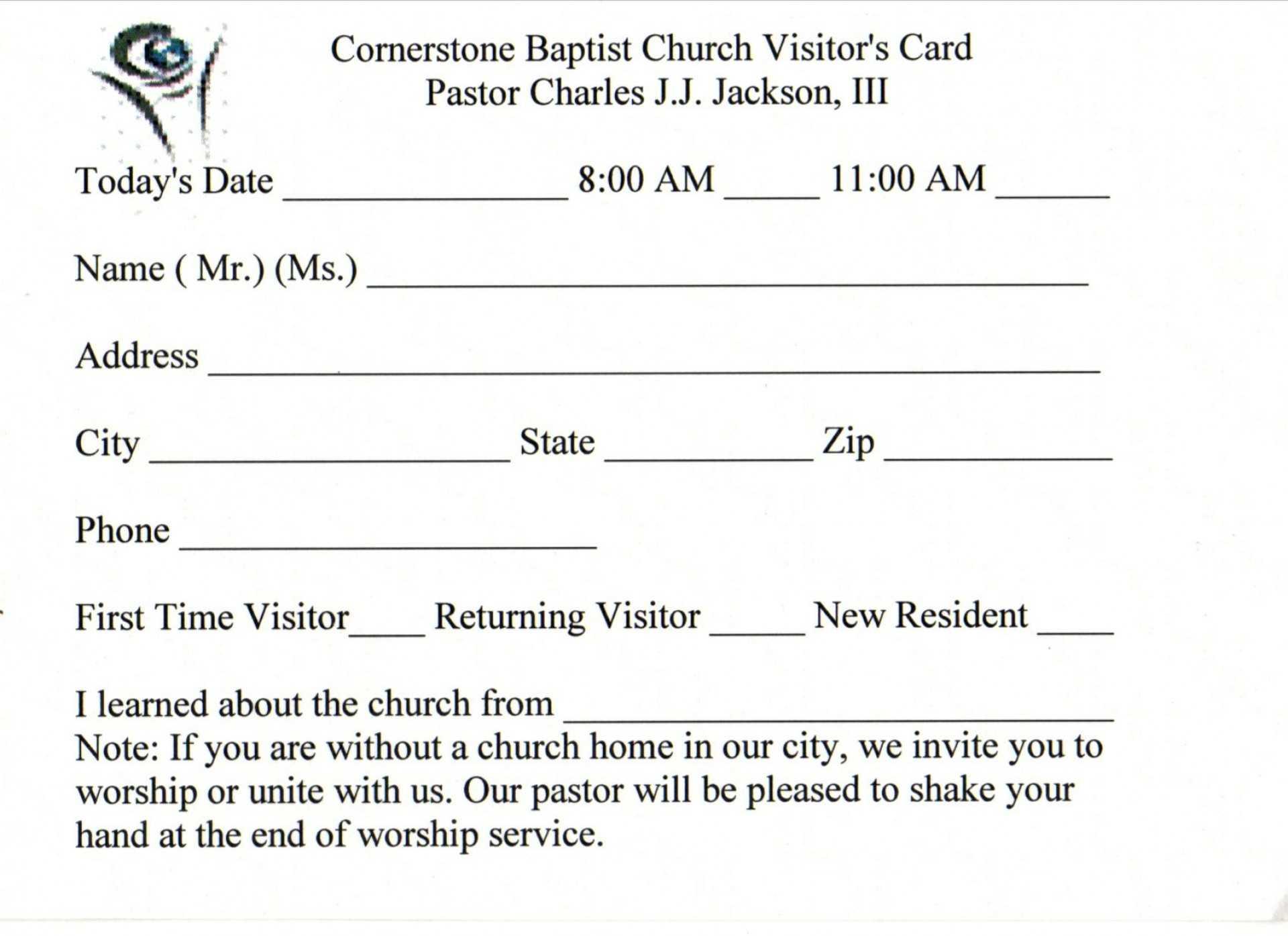 019 Template Ideas Church Visitor Card Word Impressive Within Church Visitor Card Template Word