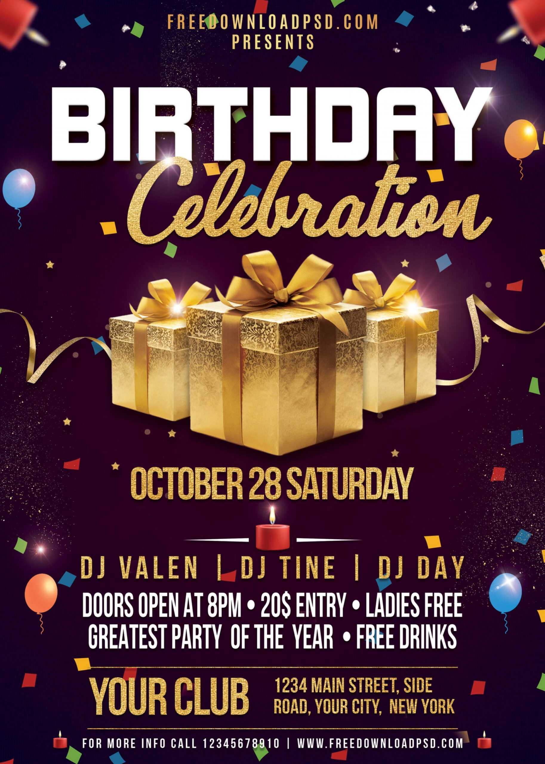 021 Free Birthday Flyer Templates Psd Template Awesome Ideas Throughout Free Birthday Flyer Templates