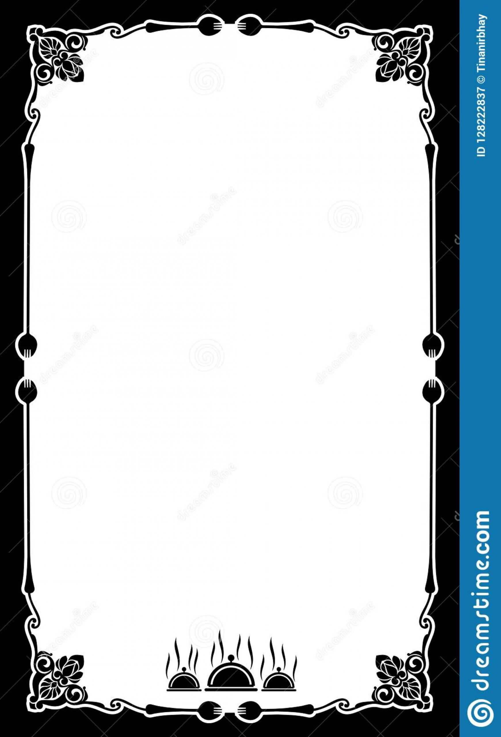 023 Restaurant Menu Card Frame Template Blank Background Regarding Fancy Menu Template