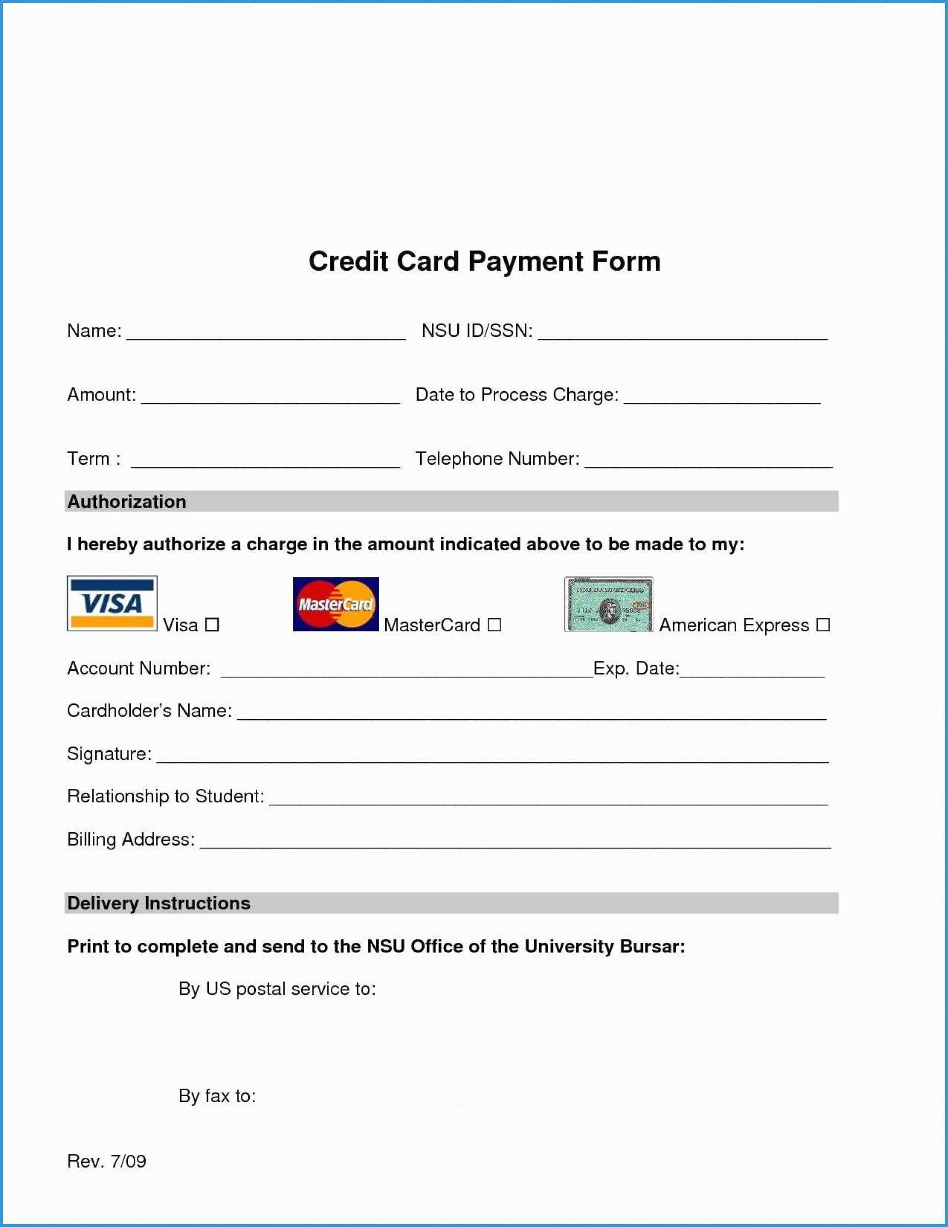 024 Credit Card Authorization Form Template Free Printable Intended For Credit Card Billing Authorization Form Template