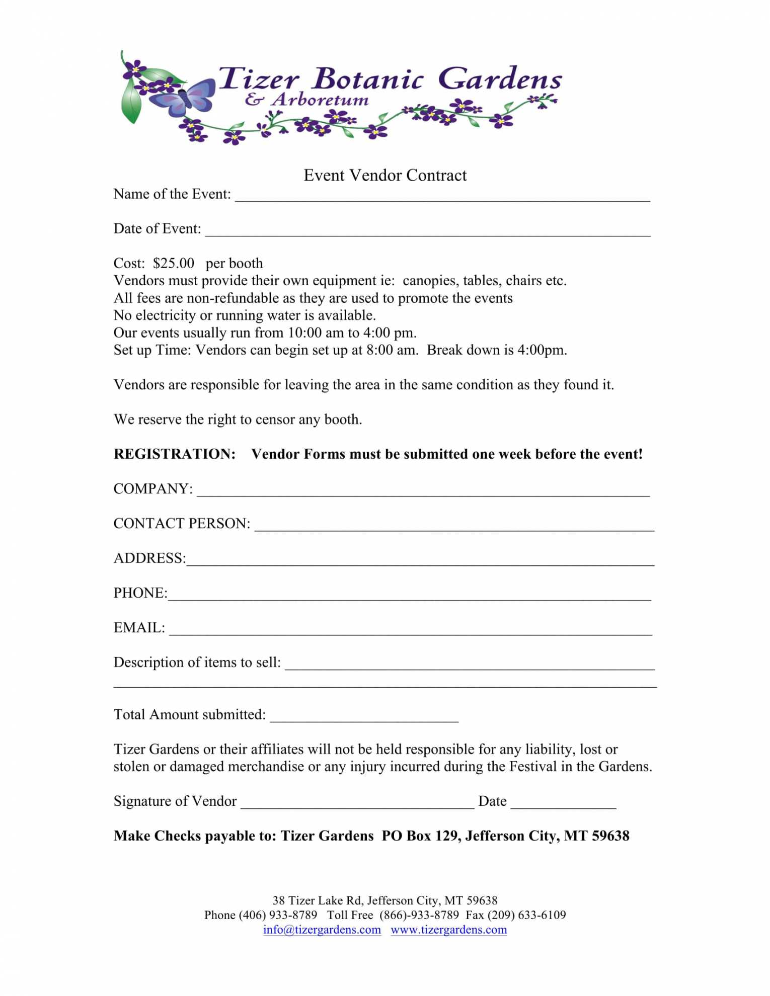 025 Printable Event Vendor Registration Form Free Word Pdf Within Event Vendor Application Template
