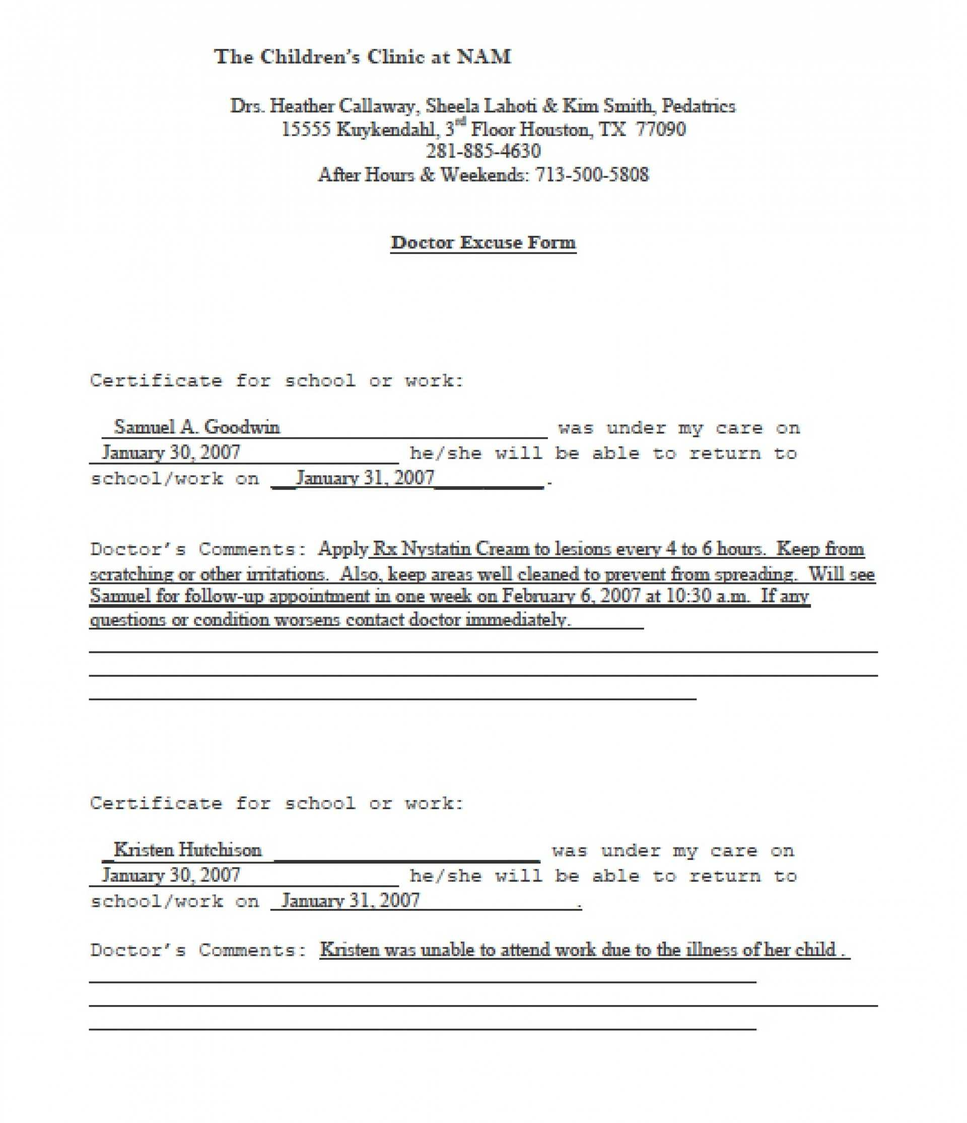 025 Template Ideas Doctors Note Excellent Pdf Free Sick In Fake Doctors Note Template Pdf Free