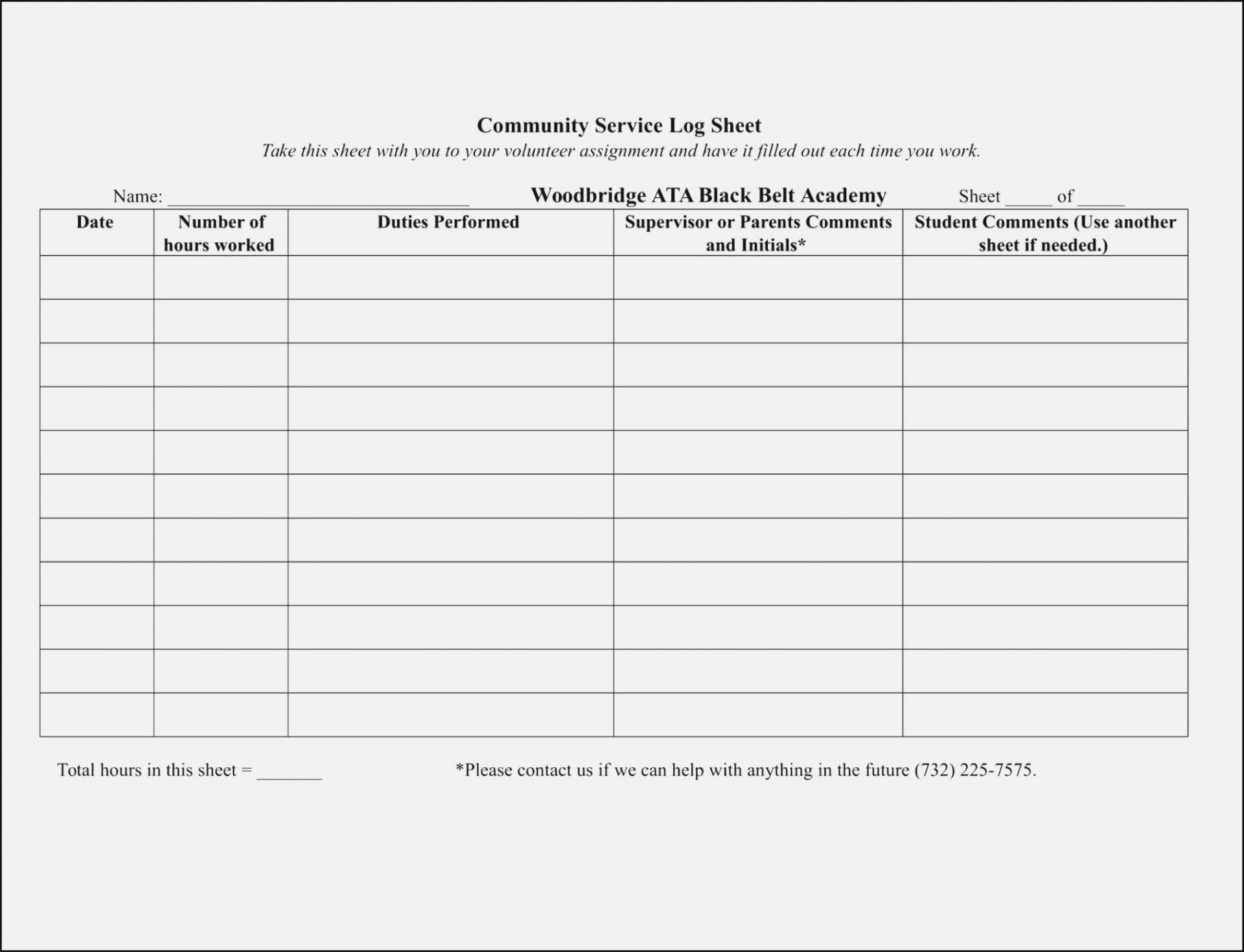 025 Volunteer Sign Up Form Template Sheet Templates Ideas In Community Service Template Word