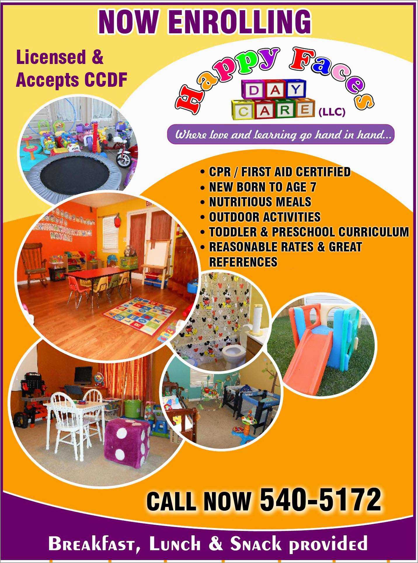 026 Free Daycare Flyer Templates Pleasant Happy Faces Home Within Daycare Flyers Templates Free