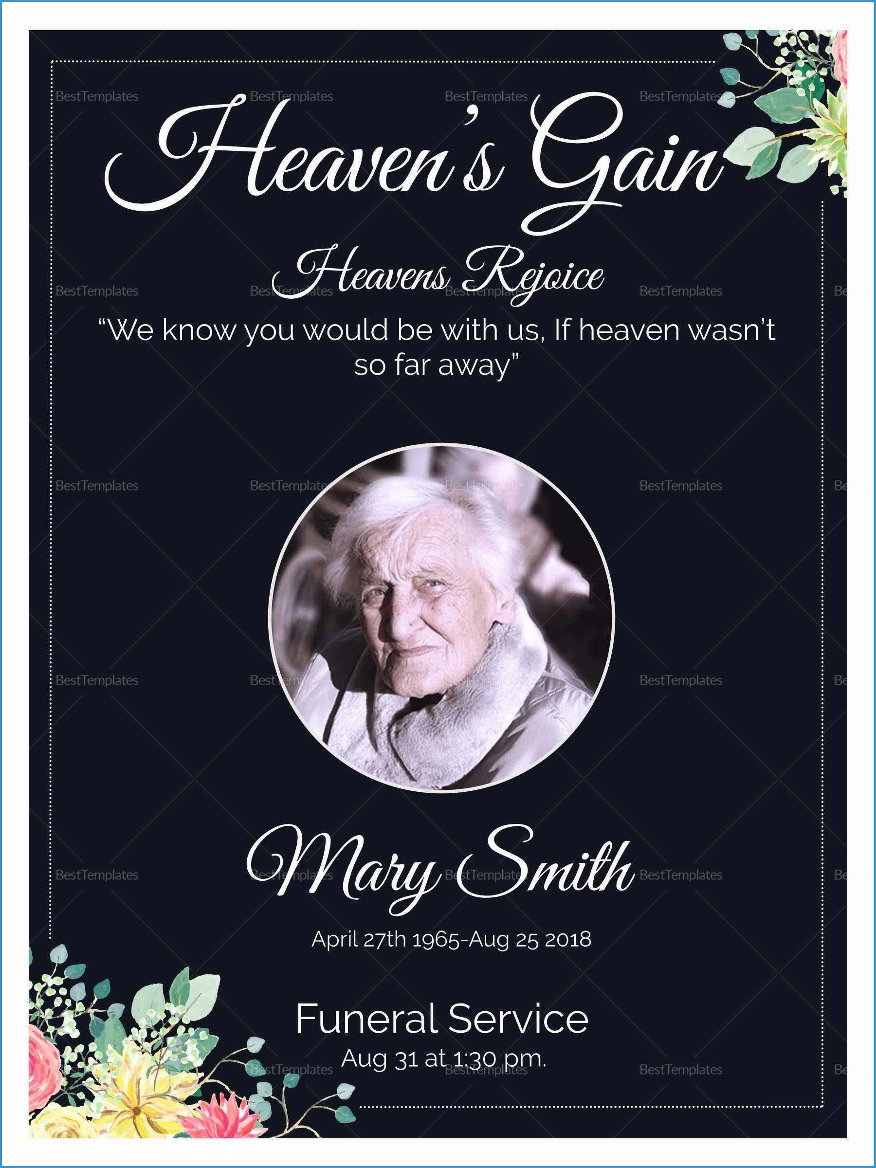 027 Free Memorial Card Template Ideas Death Announcement Within Funeral Invitation Card Template