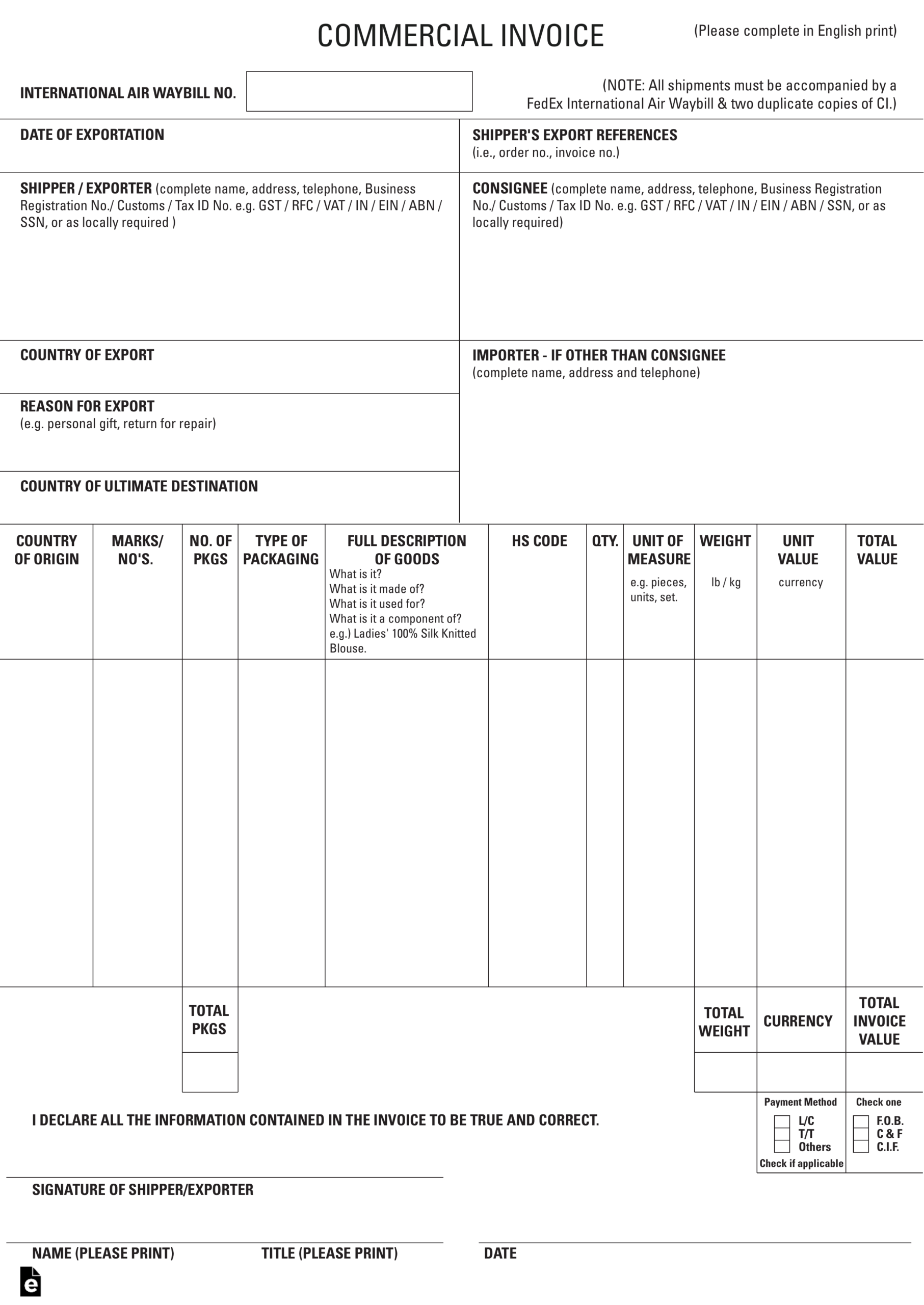 027 Ups Commercial Invoice Form Pdf Example Forms Canada Inside Customs Commercial Invoice Template