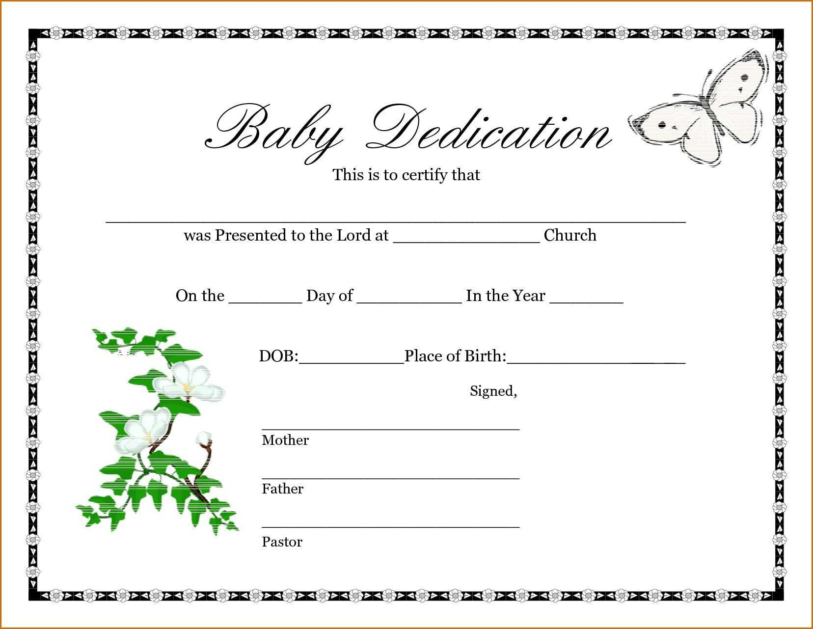 028 Baby Dedication Certificate Template Fake Birth Maker Regarding Fake Birth Certificate Template