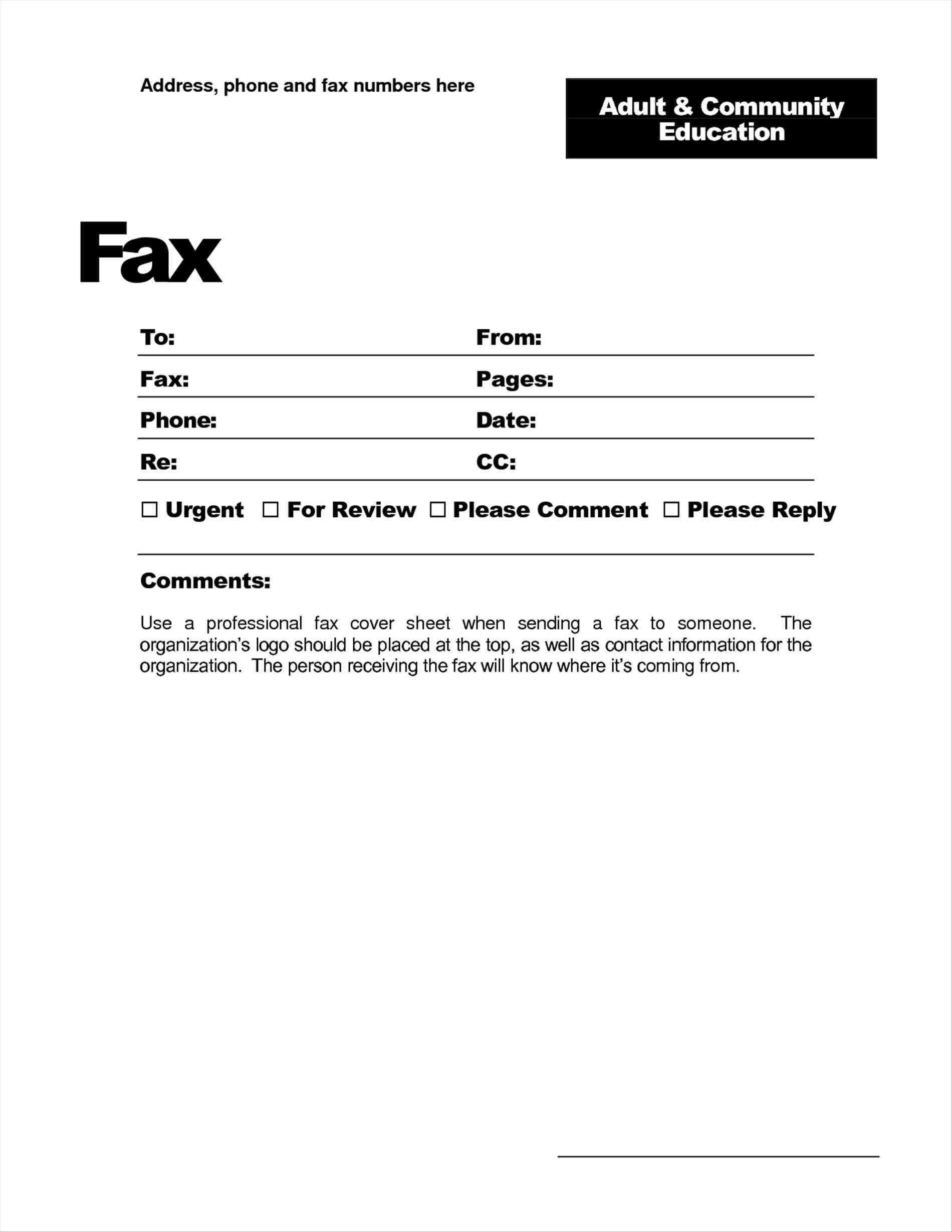 028 Basic Fax Cover Sheet Template Free Printable Example Throughout Fax Cover Sheet Template Word 2010