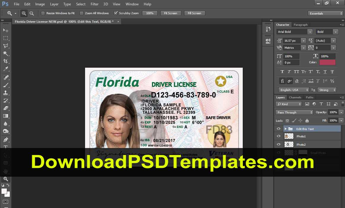 029 Florida Photoshop Driver License Template New High Throughout Florida Id Card Template