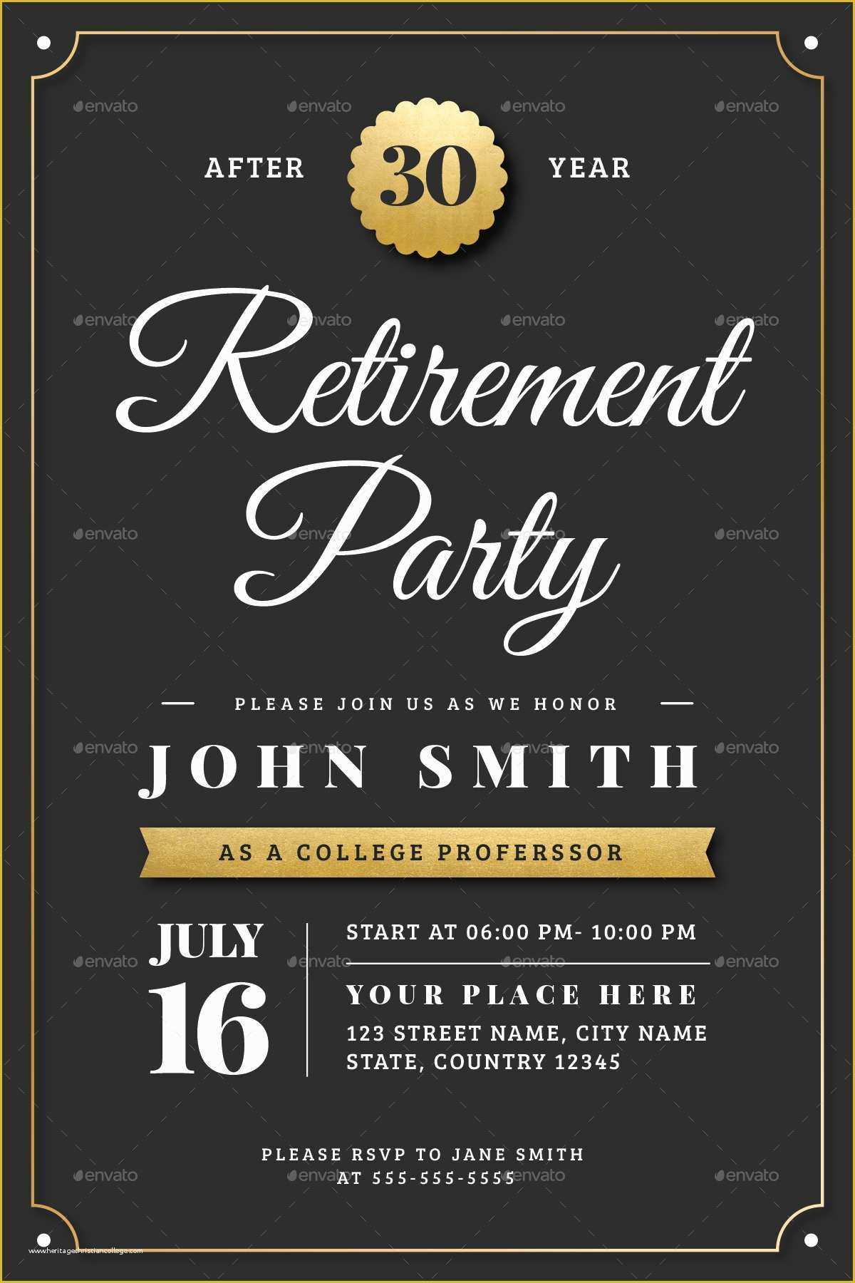 032 Retirement Party Announcement Template Free Of Gold With Regard To Free Retirement Templates For Flyers