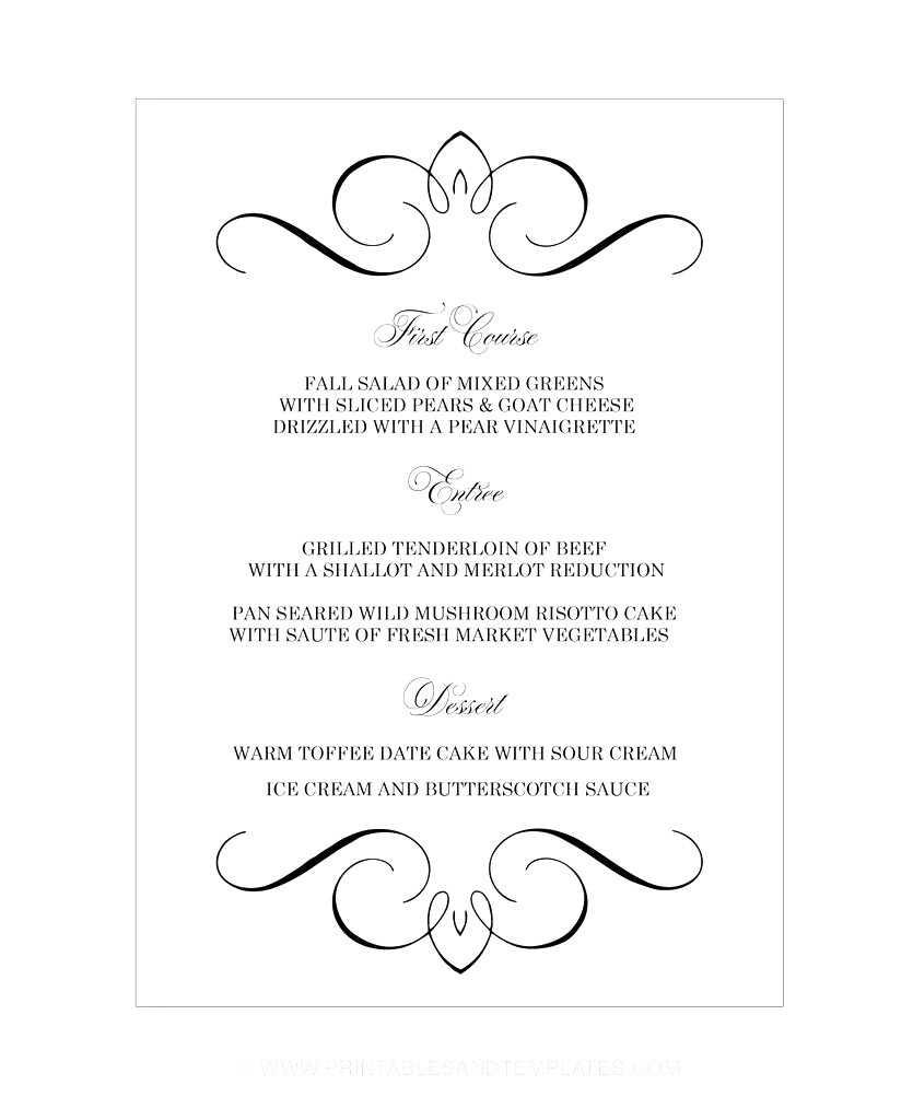042 Wedding Menu Templates Free Microsoft Word Filename Pertaining To Editable Menu Templates Free