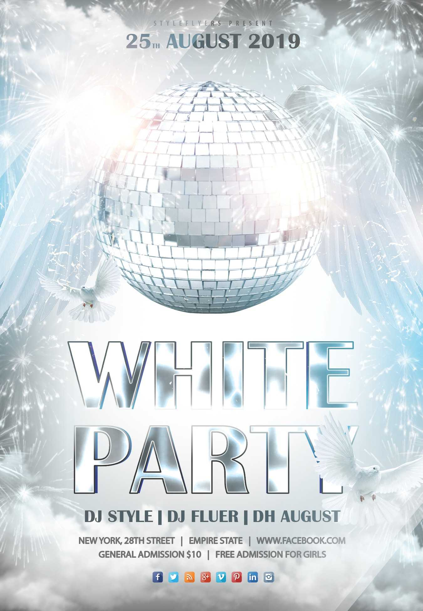 042 White Party Min Template Ideas Free Birthday Flyer With Free All White Party Flyer Template