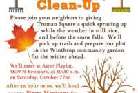 10 Best Photos Of Community Newsletter October – Community in Fall Clean Up Flyer Template