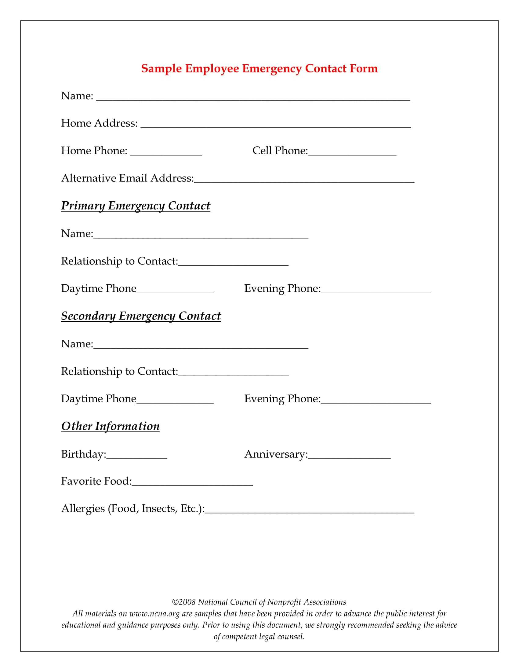 10+ Emergency Information Form Examples - Pdf | Examples Throughout Emergency Contact Card Template