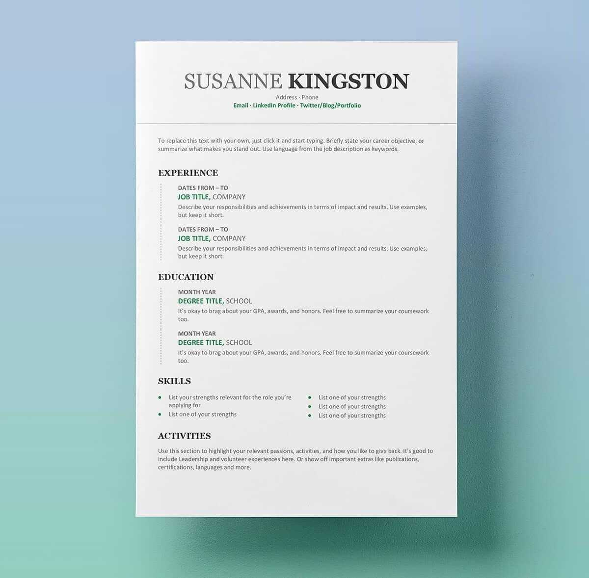11 Free Professional Resume Templates Microsoft Word Format With Regard To Free Resume Template Microsoft Word