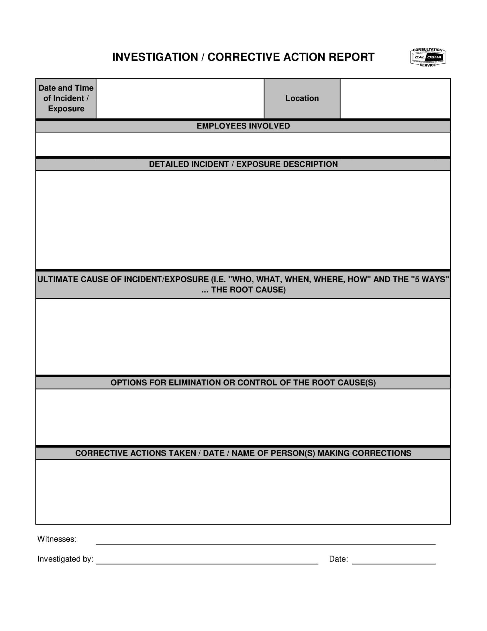 12+ Corrective Action Report Examples - Pdf   Examples For Corrective Action Report Template