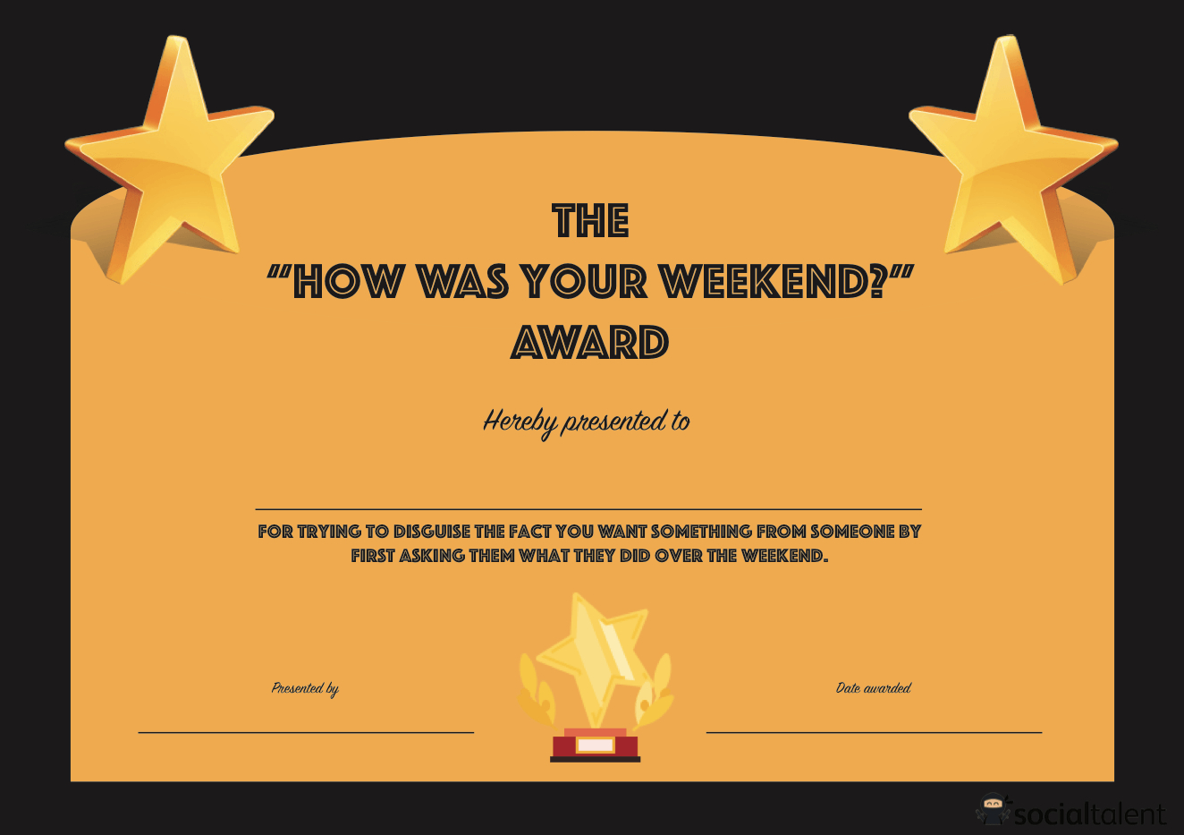 20 Hilarious Office Awards To Embarrass Your Colleagues Within Free Printable Funny Certificate Templates