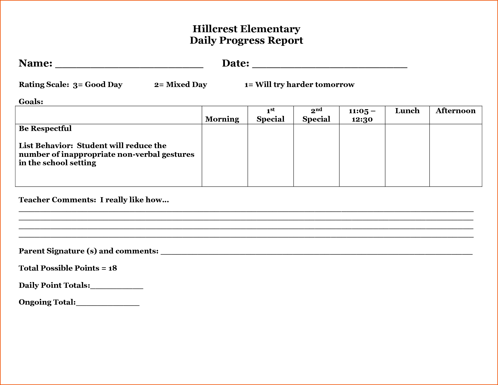 26 Images Of Student Daily Behavior Progress Report Template With Daily Behavior Report Template