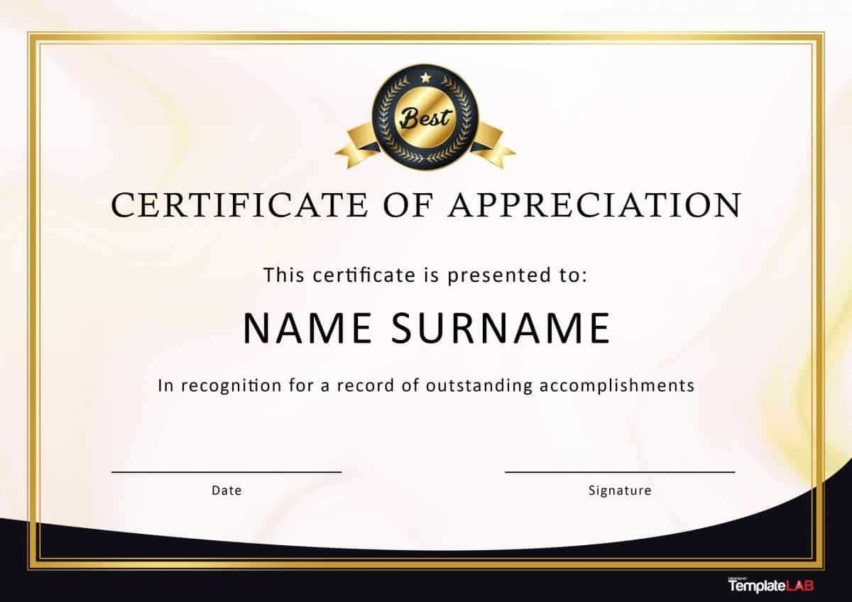 30 Free Certificate Of Appreciation Templates And Letters Regarding Free Certificate Of Appreciation Template Downloads
