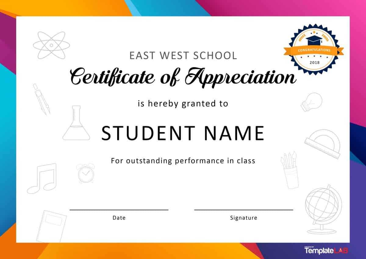 30 Free Certificate Of Appreciation Templates And Letters With Regard To Free School Certificate Templates