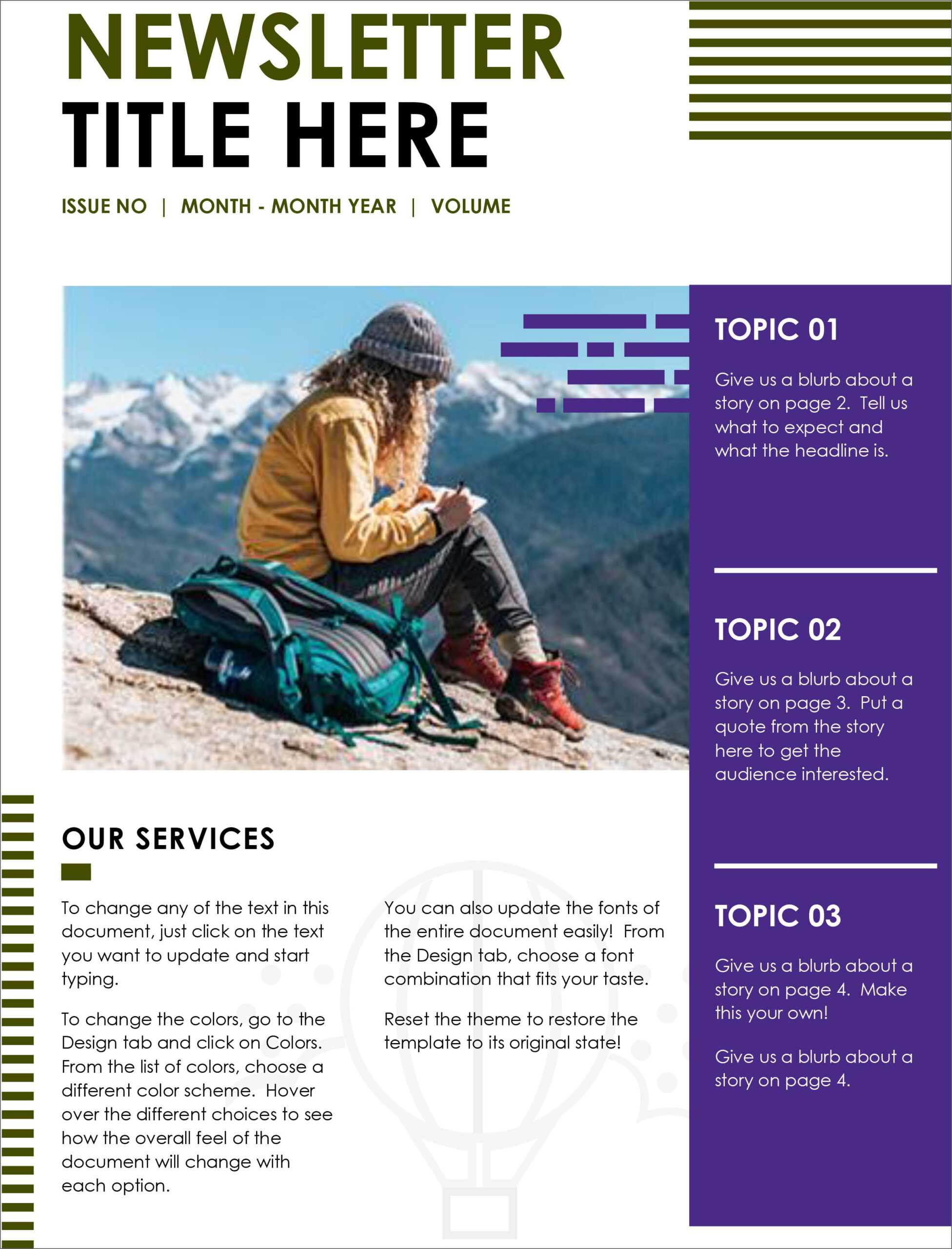 32 Free Printable A4 Newsletter Templates For School And Pertaining To Free Business Newsletter Templates For Microsoft Word