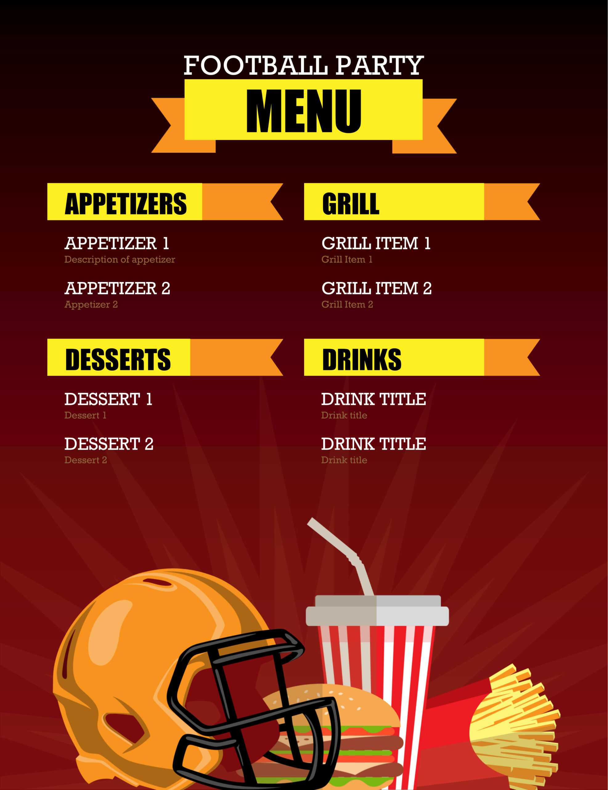 32 Free Simple Menu Templates For Restaurants, Cafes, And Within Football Menu Templates