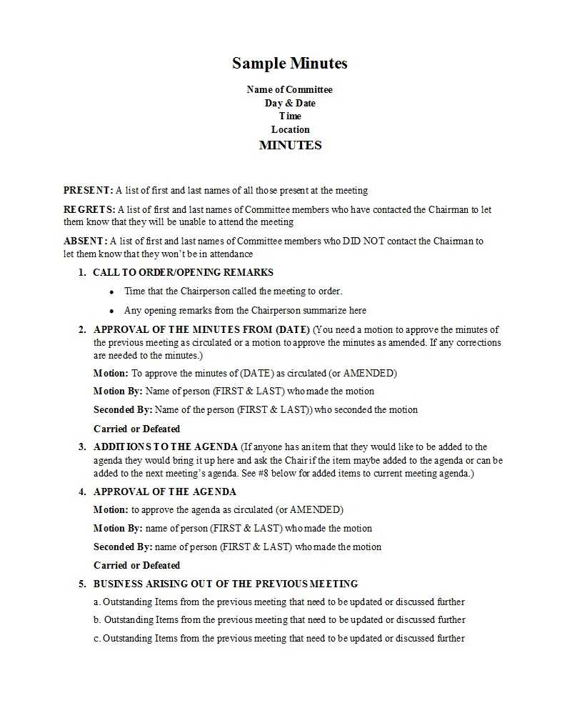 33 Professional Corporate Minutes Templates (Word/pdf) ᐅ For Corporate Meeting Minutes Template