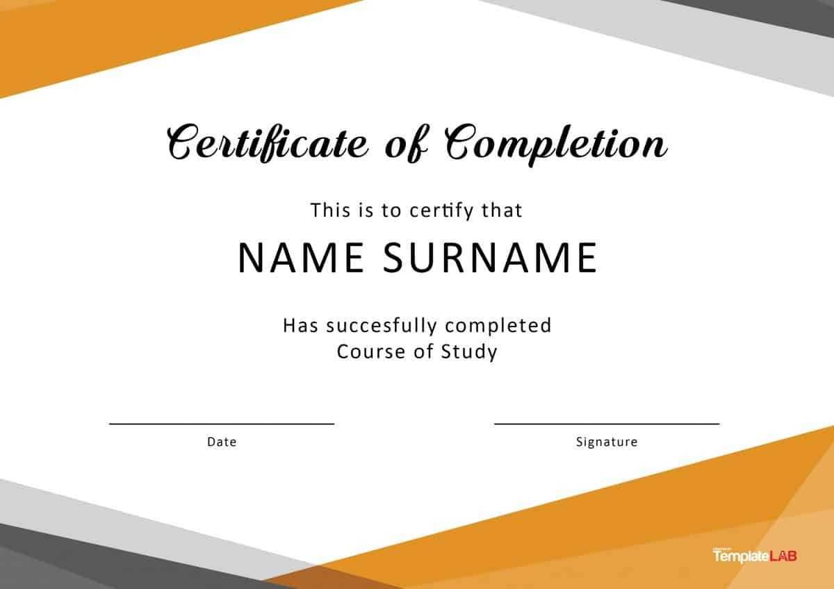 40 Fantastic Certificate Of Completion Templates [Word Regarding Free Printable Certificate Of Achievement Template