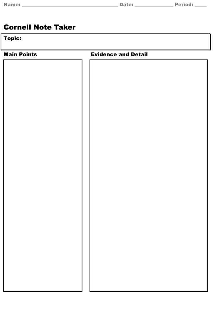 40 Free Cornell Note Templates (With Cornell Note Taking Pertaining To Cornell Note Template Word
