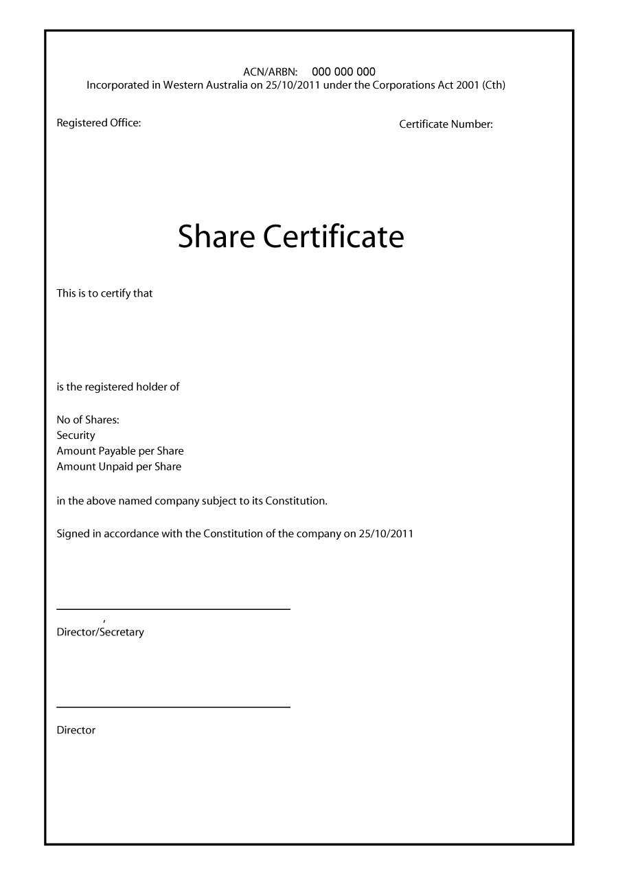 40+ Free Stock Certificate Templates (Word, Pdf) ᐅ Template Lab For Corporate Share Certificate Template