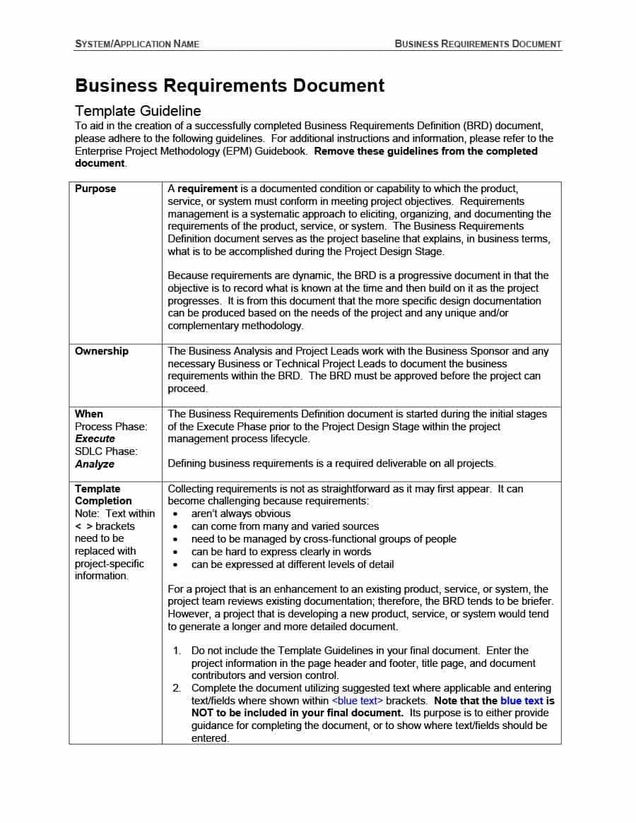 40+ Simple Business Requirements Document Templates ᐅ With Example Business Requirements Document Template