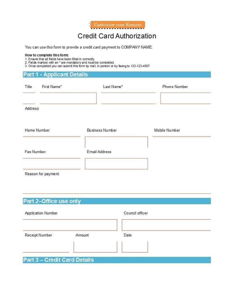 41 Credit Card Authorization Forms Templates {Ready To Use} Within Credit Card On File Form Templates