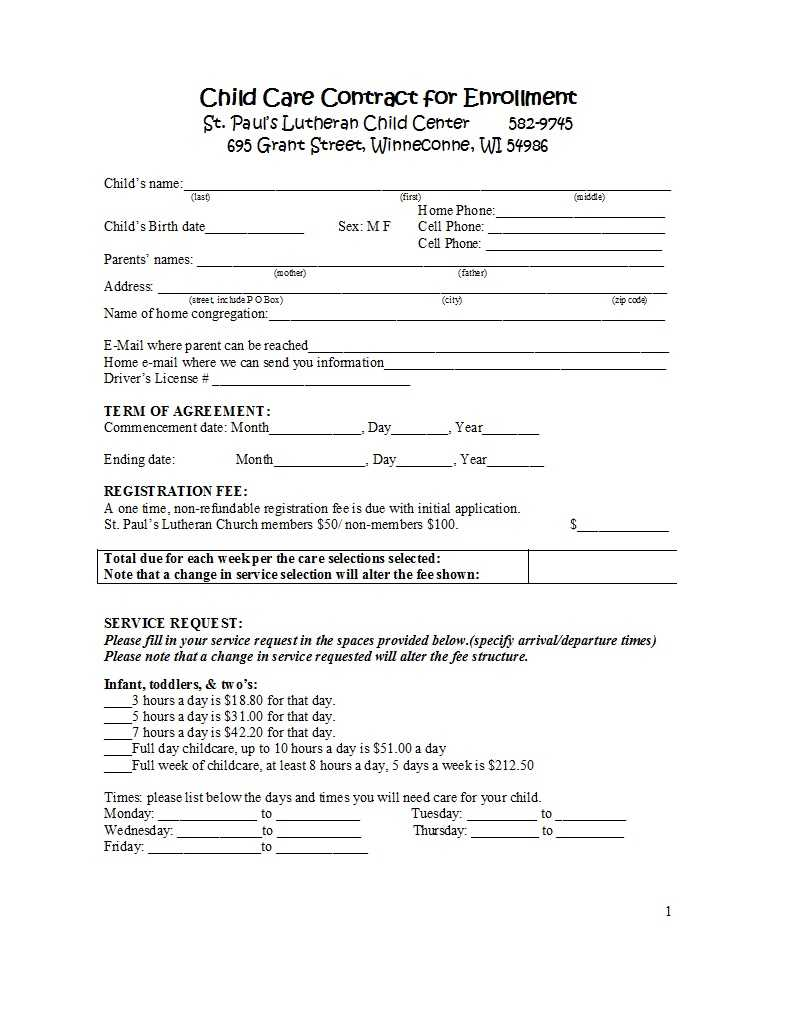 50 Daycare, Child Care & Babysitting Contract Templates With Daycare Contract Template
