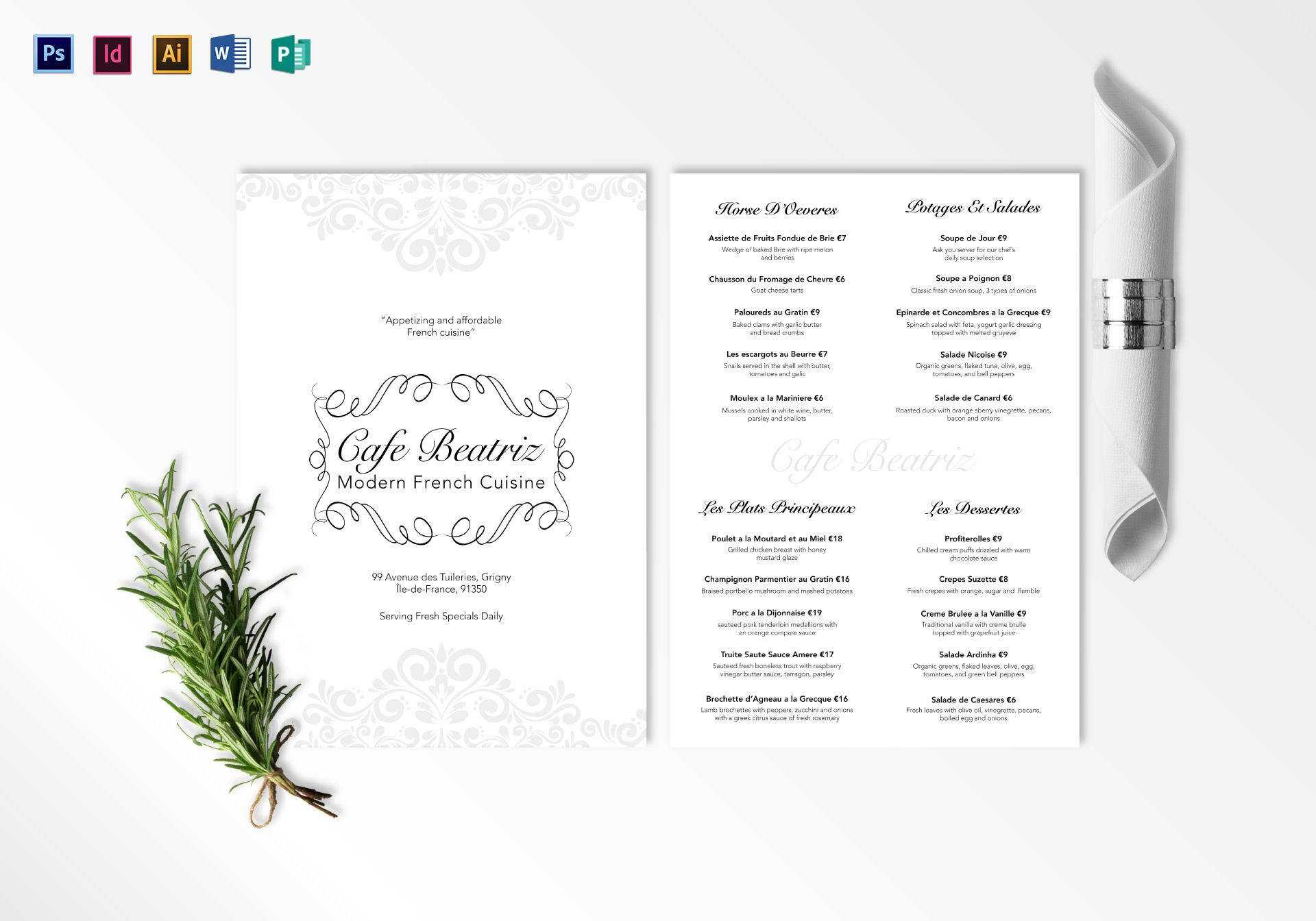 752+ Menu Templates - Ai, Psd, Docs, Pages | Free & Premium With French Cafe Menu Template