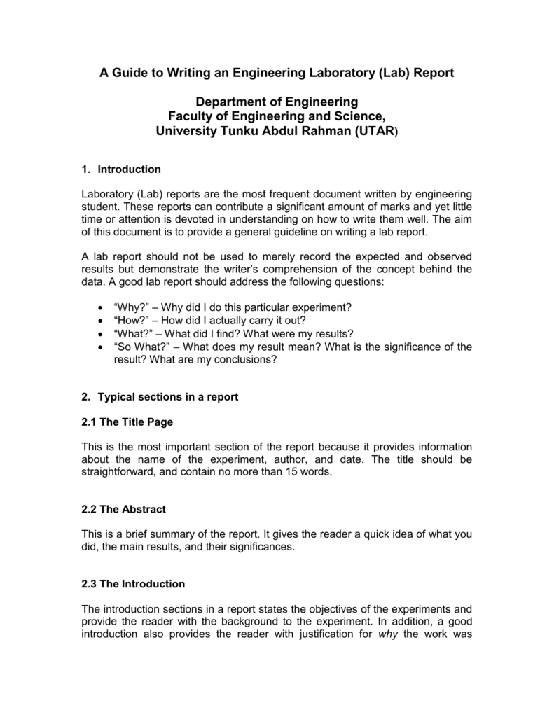 A Guide To Writing An Engineering Laboratory (Lab) Report Within Engineering Lab Report Template